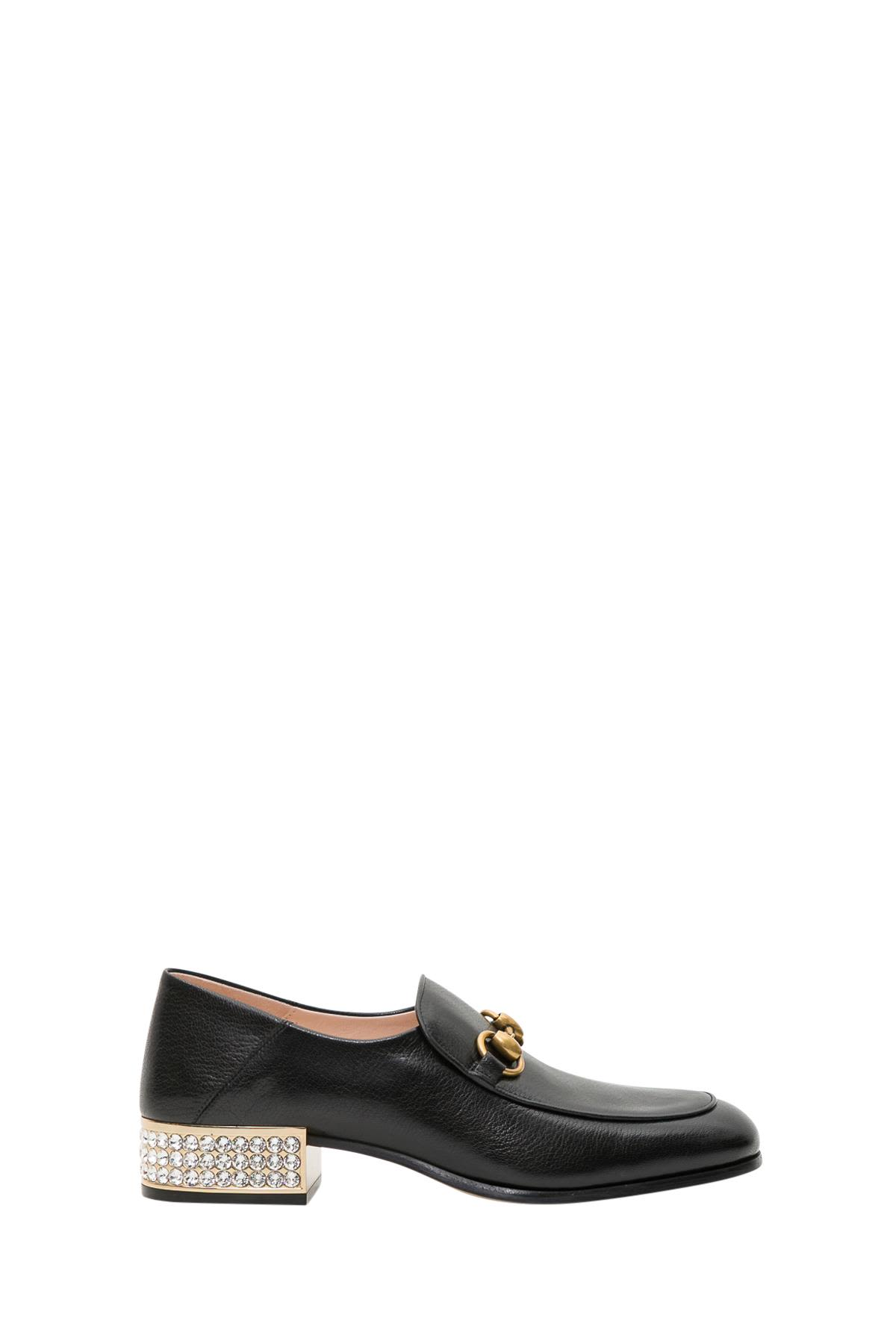 Horsebit Crystal Leather Loafers In Black