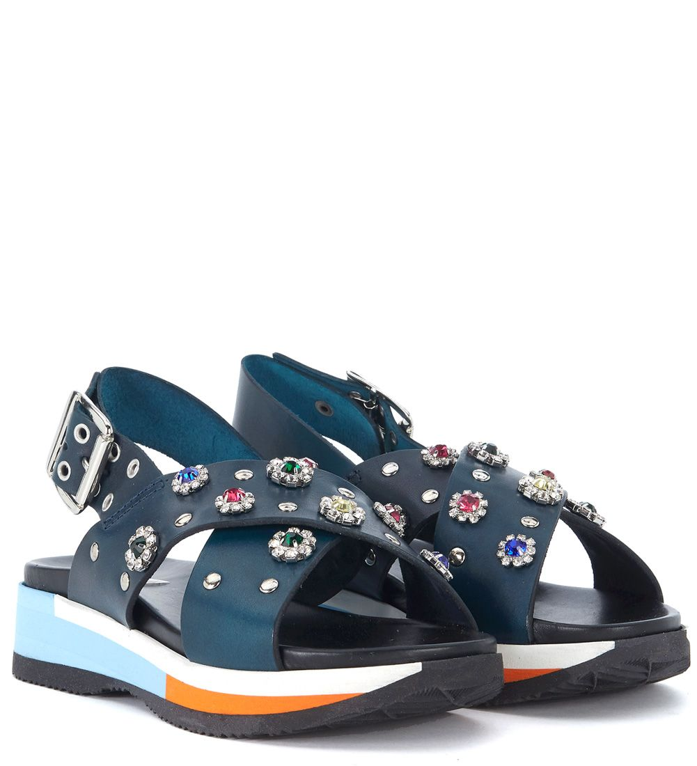 Cheapest Online Clearance Online Ebay TIPE E TACCHI Blue Leather Sandal With Jewel Flowers Discount Best Sale Buy Cheap With Credit Card b1q1qpCE