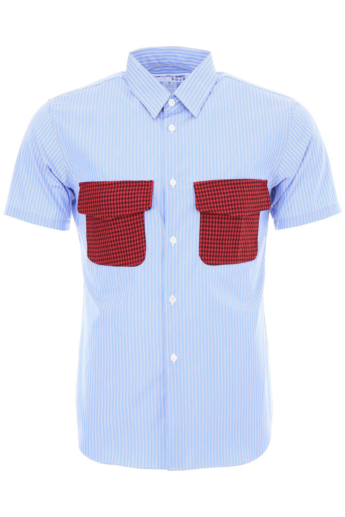 COMME DES GARÇONS BOYS Unisex Striped Shirt in Blu Red Black