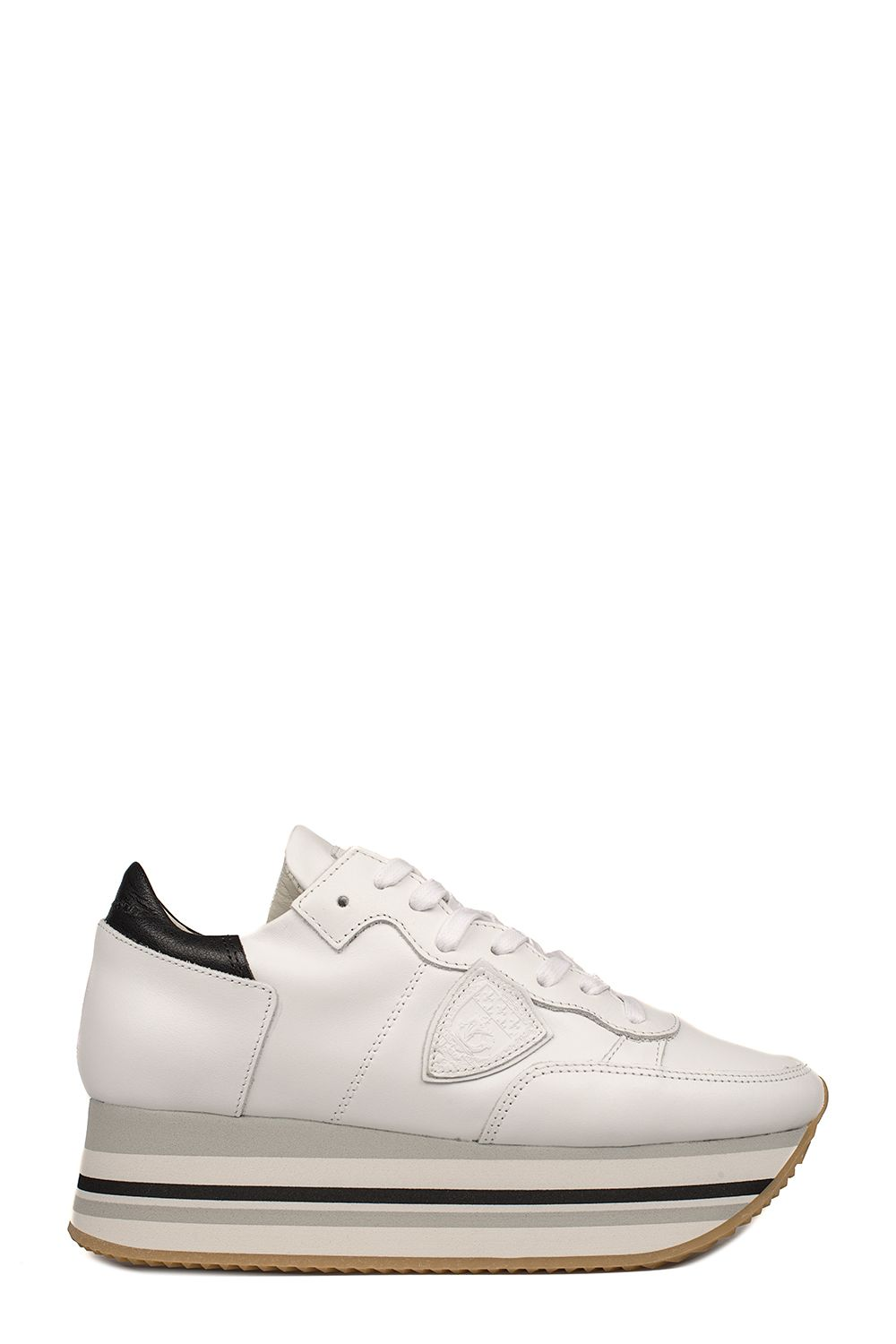 White Eiffel Leather Wedge Sneakers