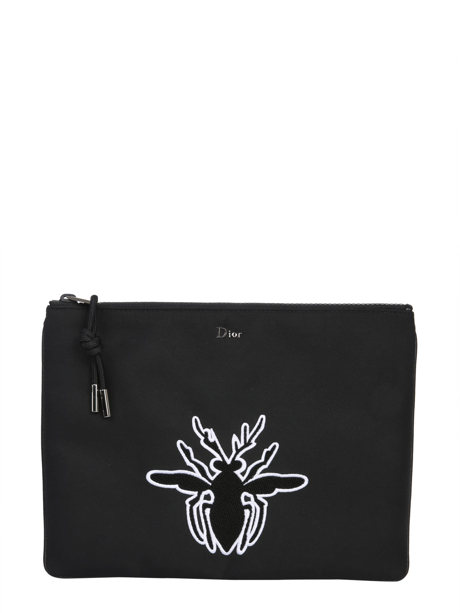 DIOR HOMME Large Clutch With Bee, Nero