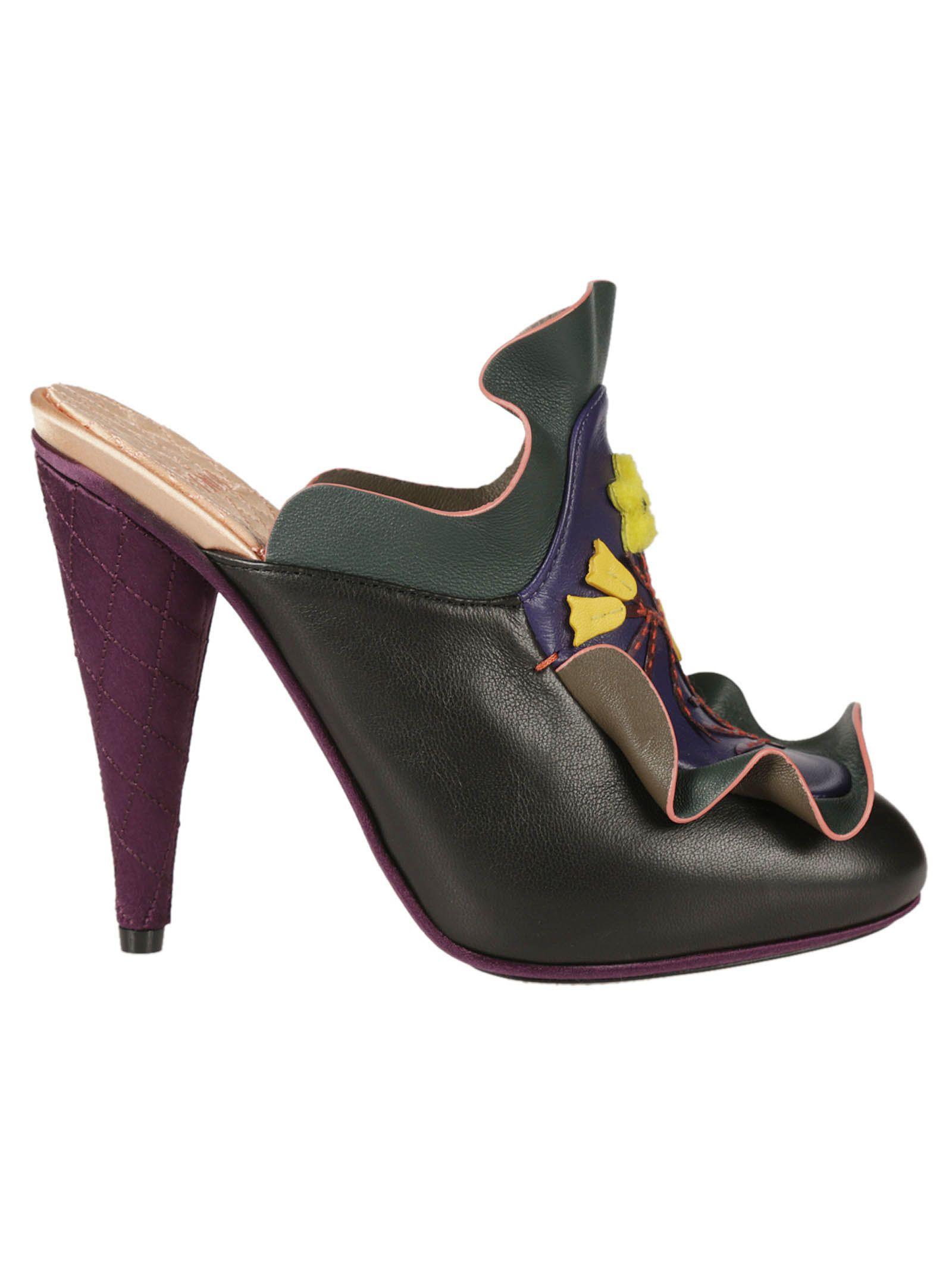 Frill heeled sandals - Black Fendi v4gGSV