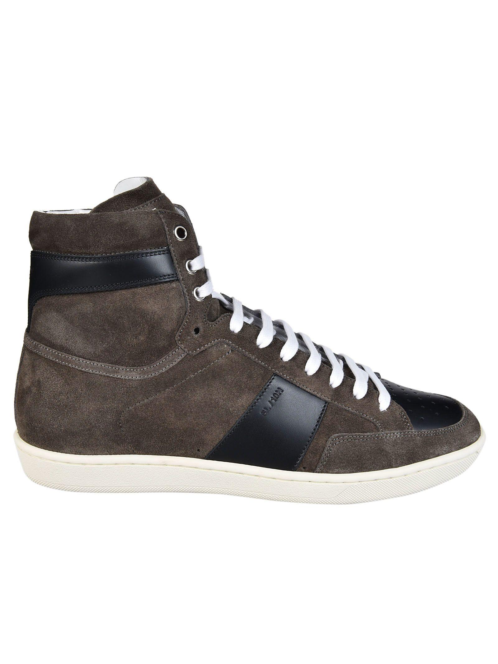 saint laurent saint laurent paris hi top sneakers brown men 39 s sneakers italist. Black Bedroom Furniture Sets. Home Design Ideas