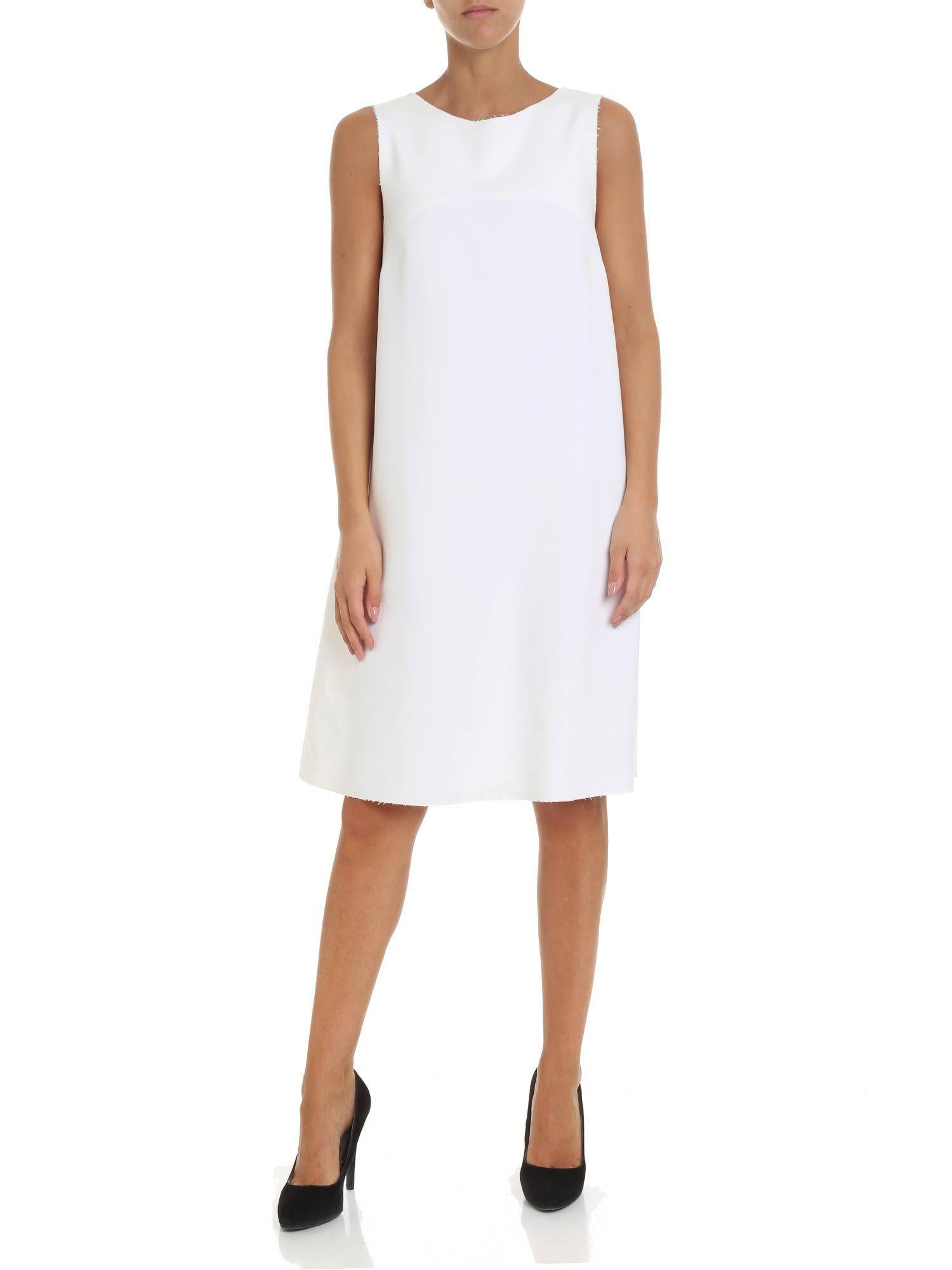ALTEA Fur Side Panel Dress in White