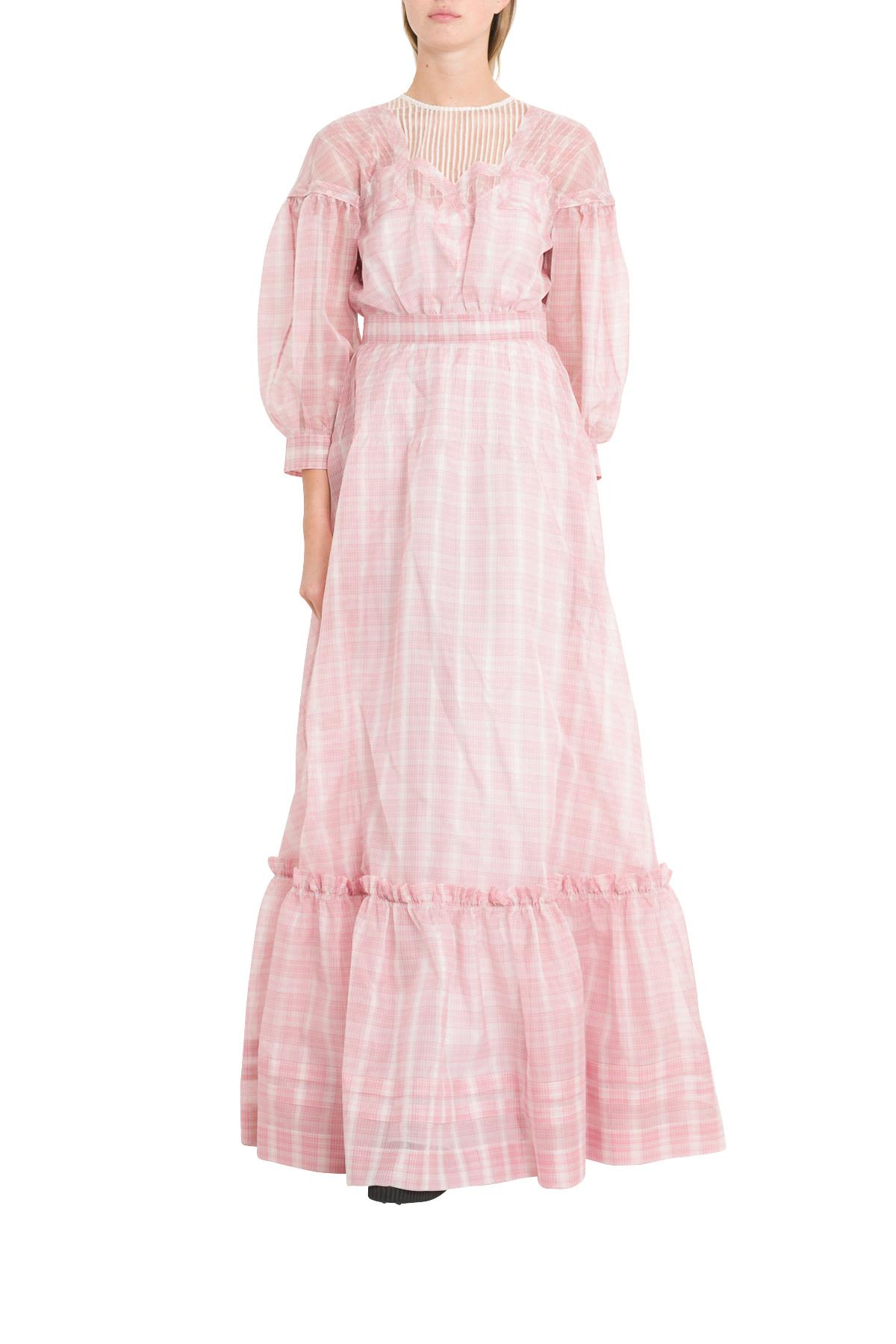 Calvin Klein LONG CHECK PINK DRESS