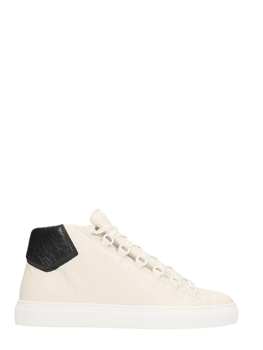BALENCIAGA ARENA LOW WHITE LEATHER SNEAKERS