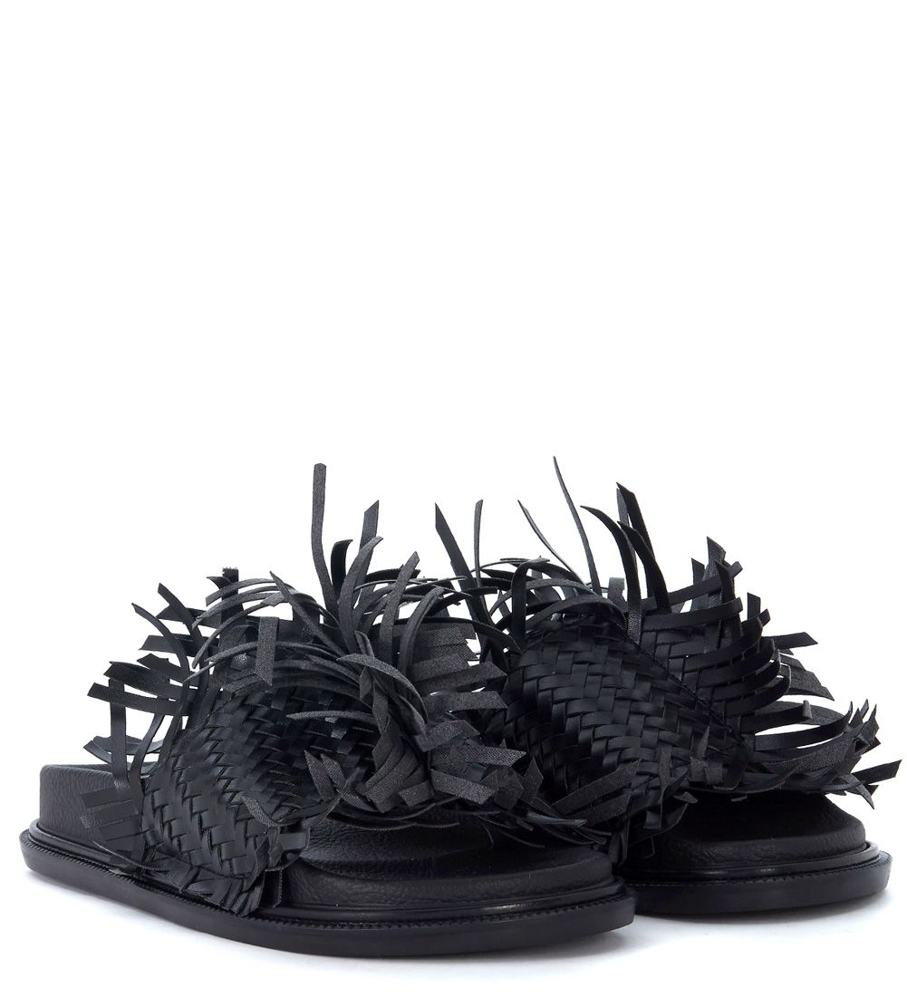 Cheap Sale Best Wholesale MM6 MAISON MARGIELA Black Leather Slipper With Interweaving And Fringes Cheap Price Manchester Online Cheap Quality Jvw3zW