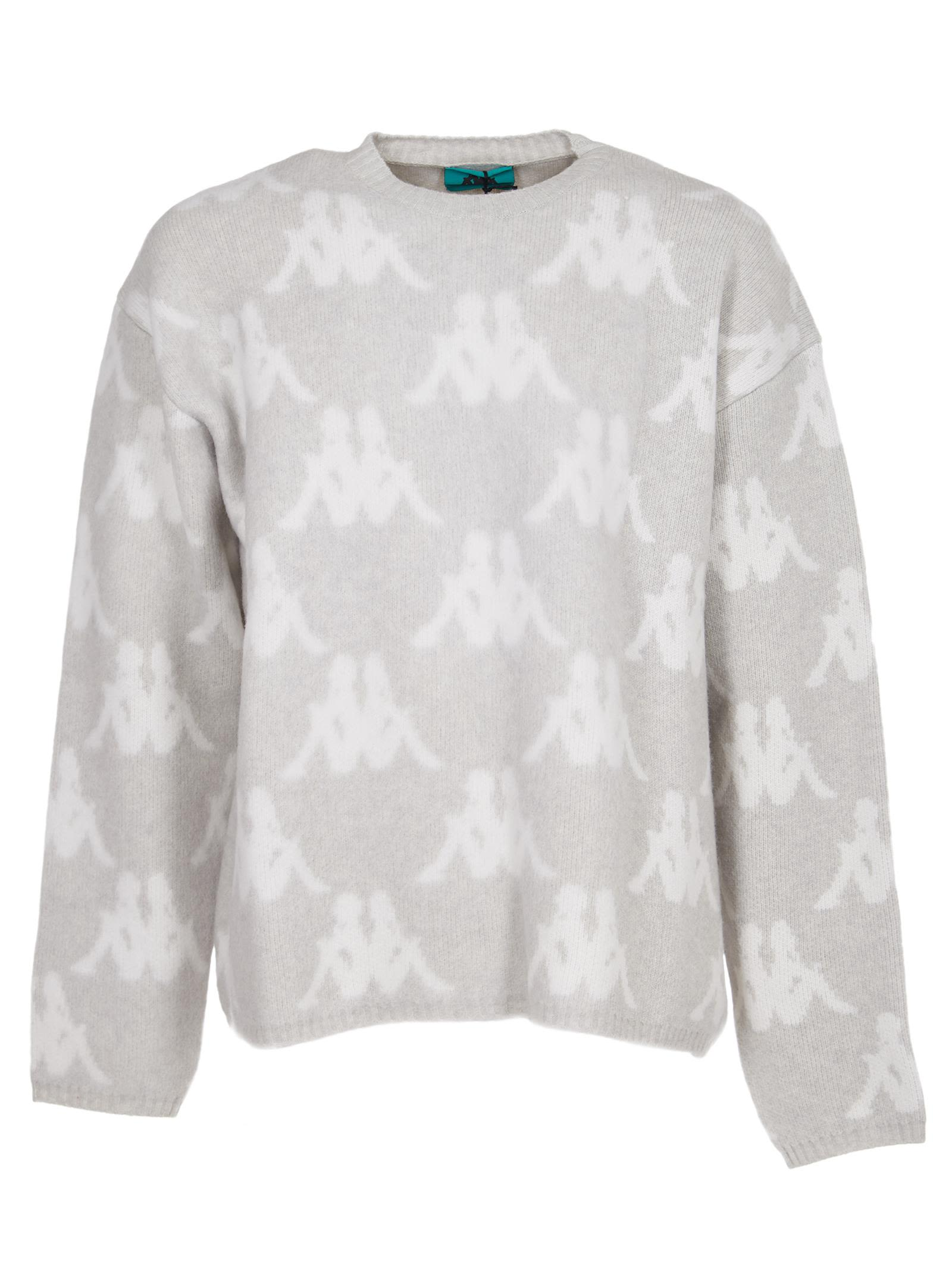 DANILO PAURA Logo Knit Sweater in Light Grey