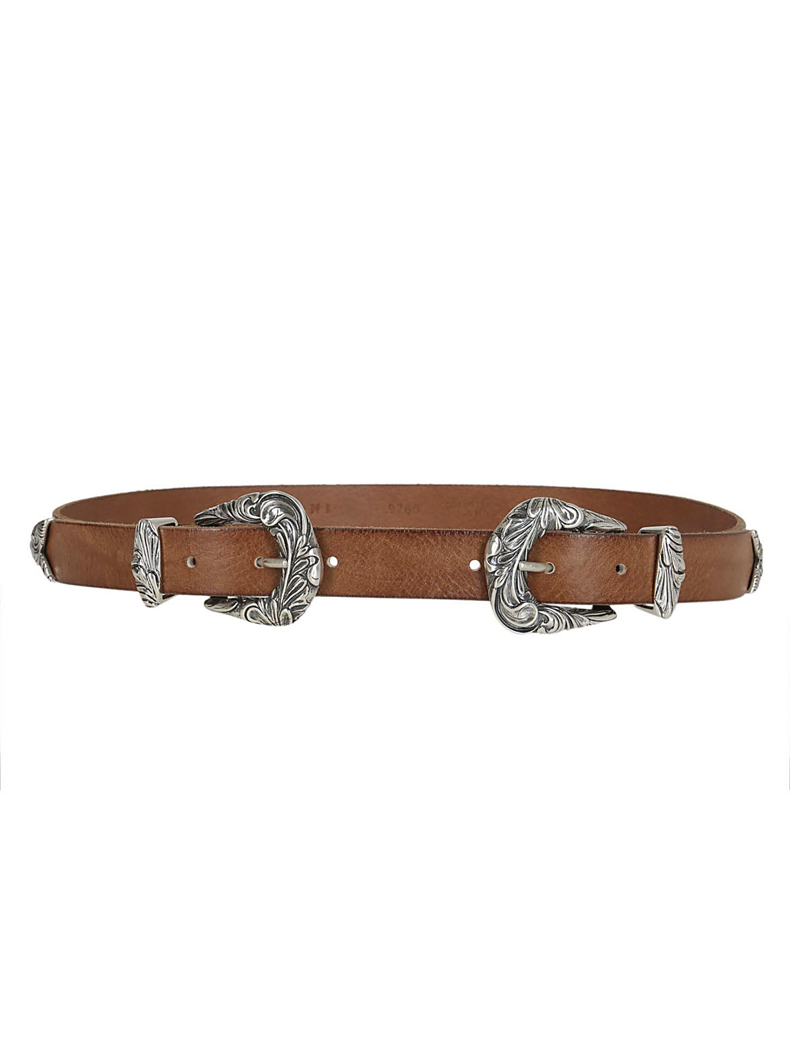 double buckle belt - Brown Orciani