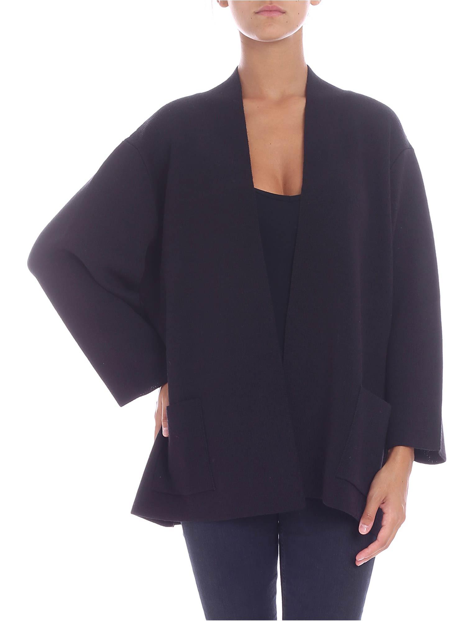 TRUSSARDI Wool Blend Cardigan in Black