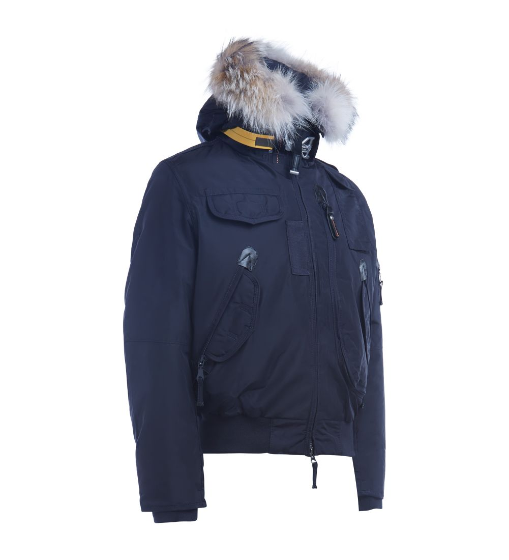 ... Parajumpers Down-filled Nylon Parajumpers Gobi Blue Bomber With Trimmed Fur Hood - BLU