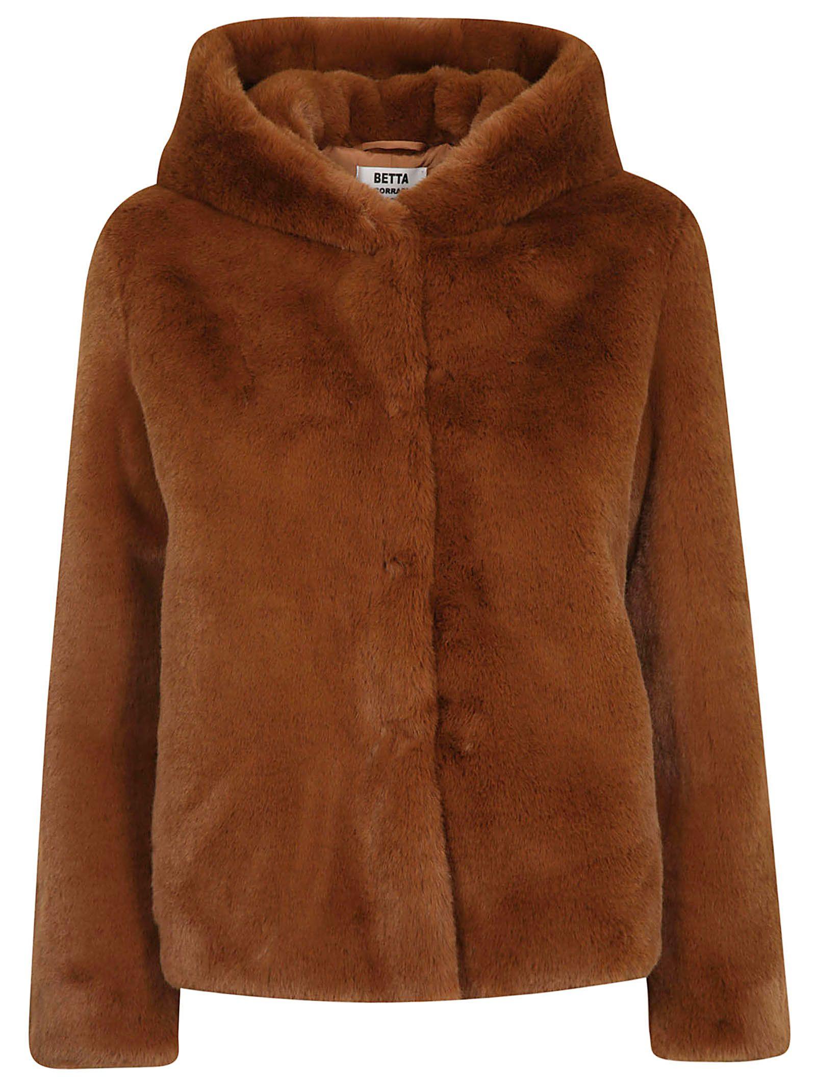 BETTA CORRADI Fur Hooded Jacket in Cammello