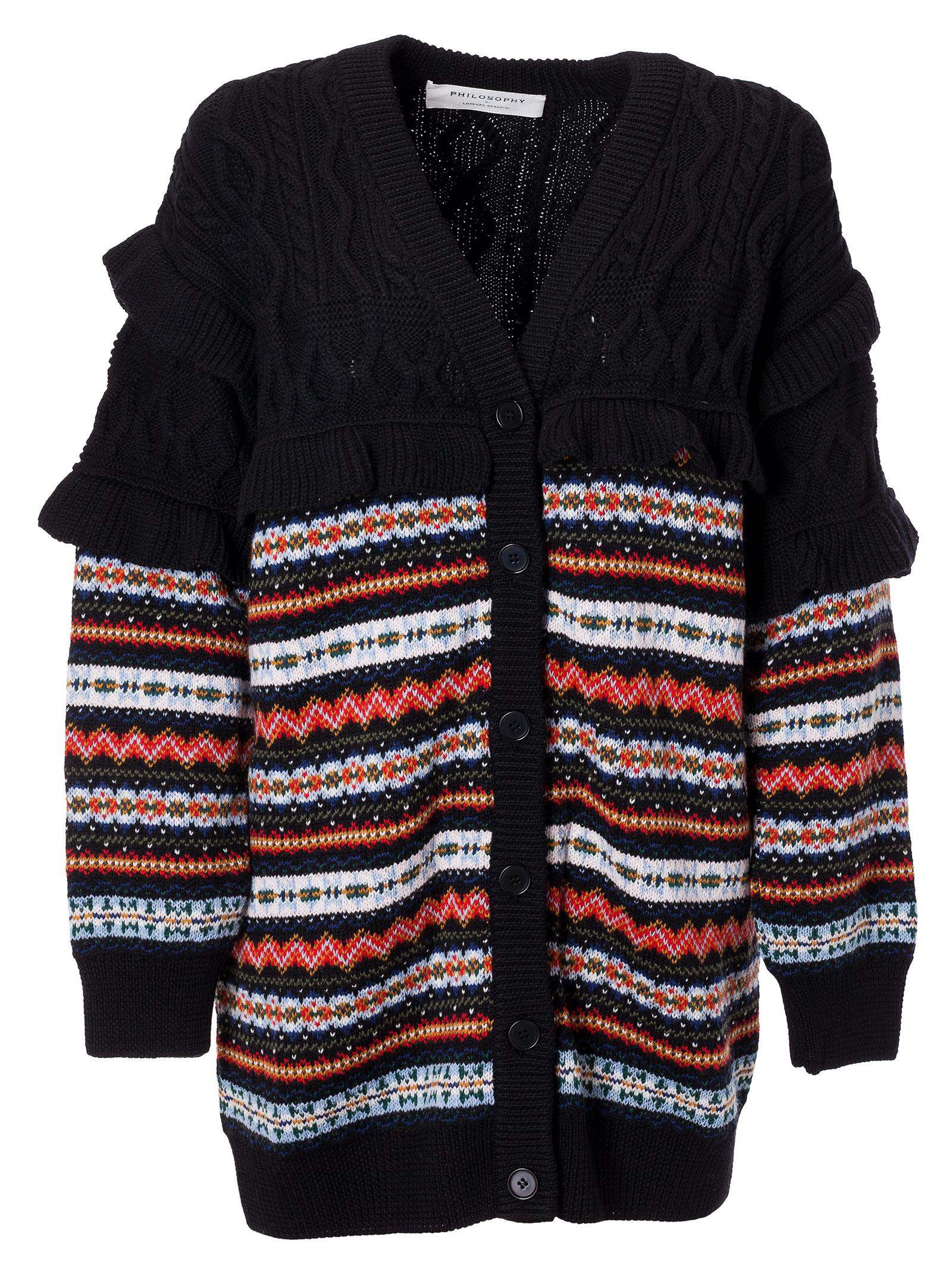 Philosophy Di Lorenzo Serafini patterned cable knit cardigan Amazon Sale Online Cheap Price Low Shipping Fee FBy9uNmz