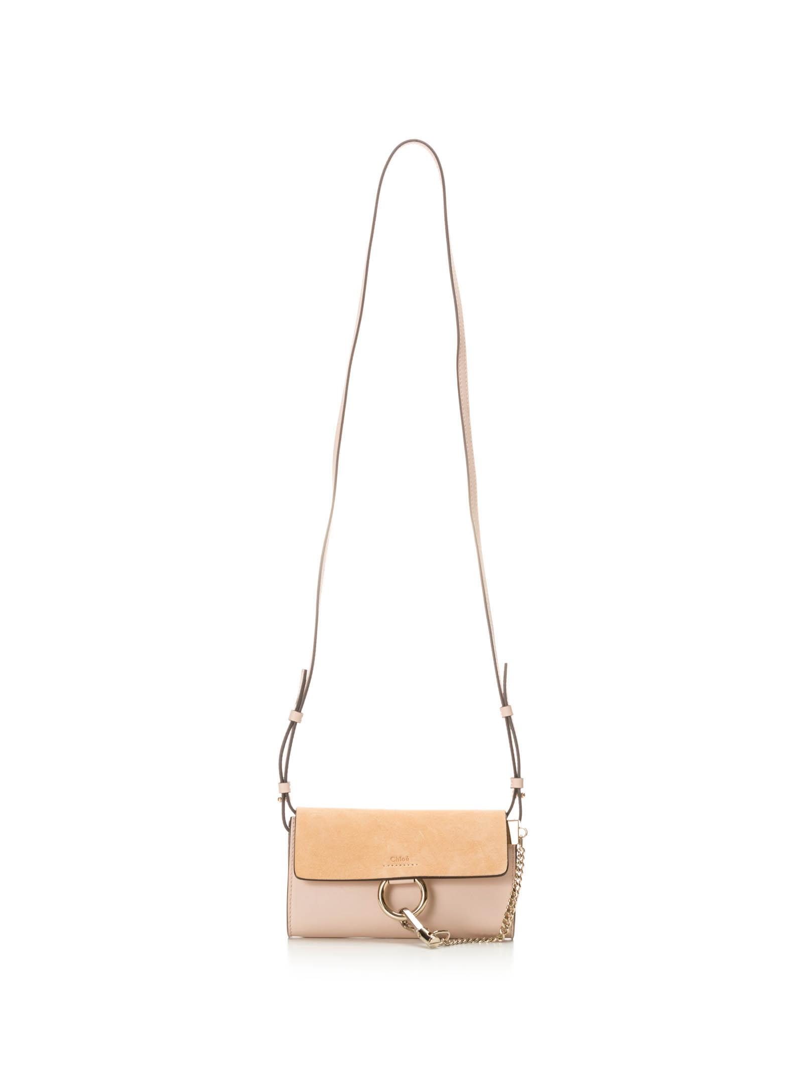 CHLOÉ CHLOE FAYE PINK WALLET ON STRAP