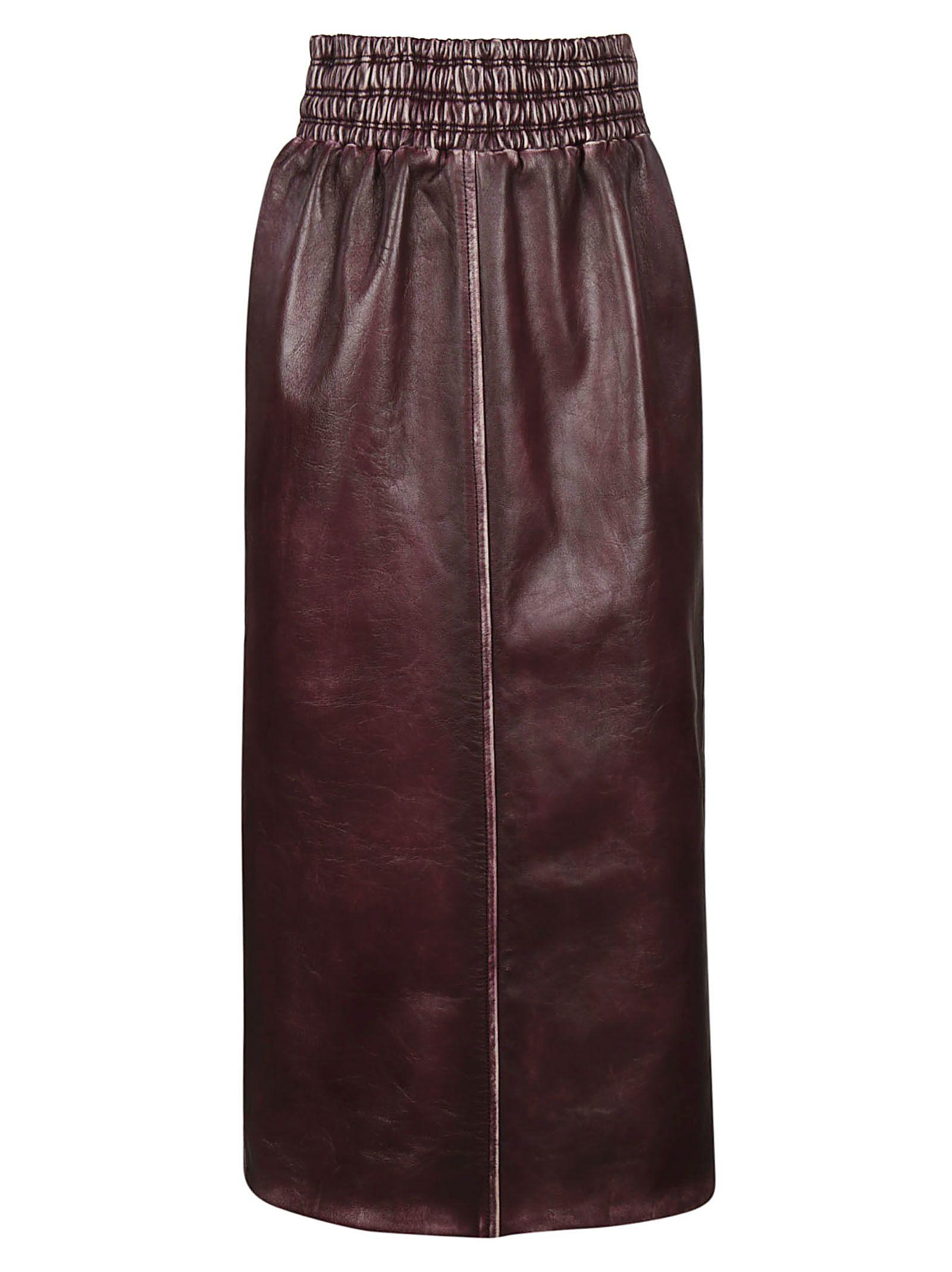 miu miu -  Vintage Effect Leather Skirt