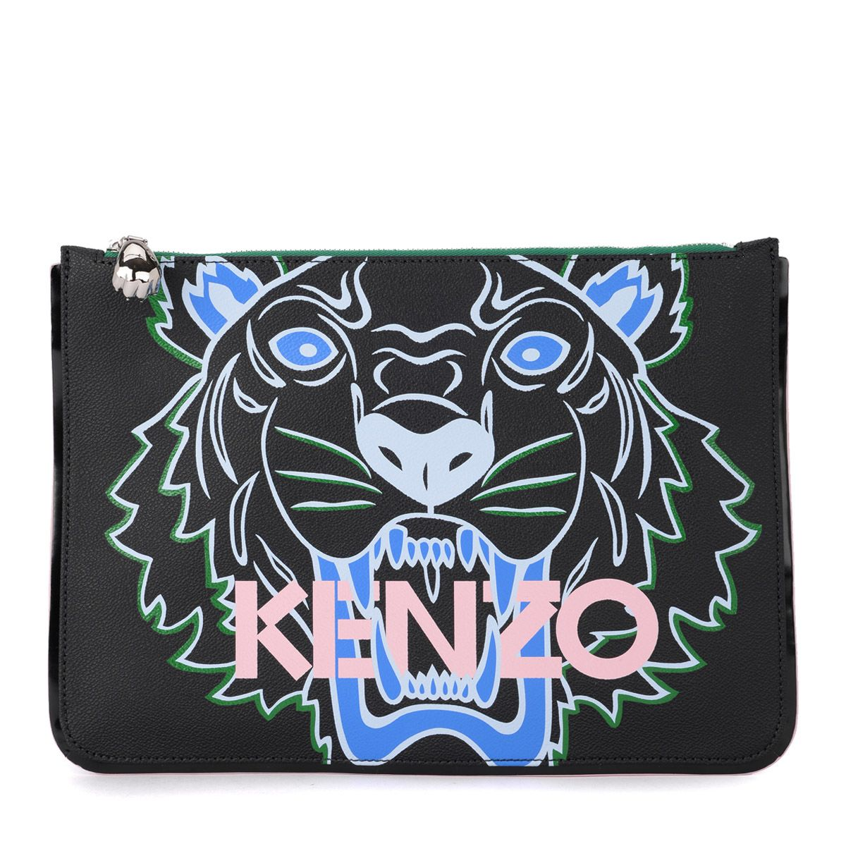 Kenzo Tiger Black Covered Canvas Clutch