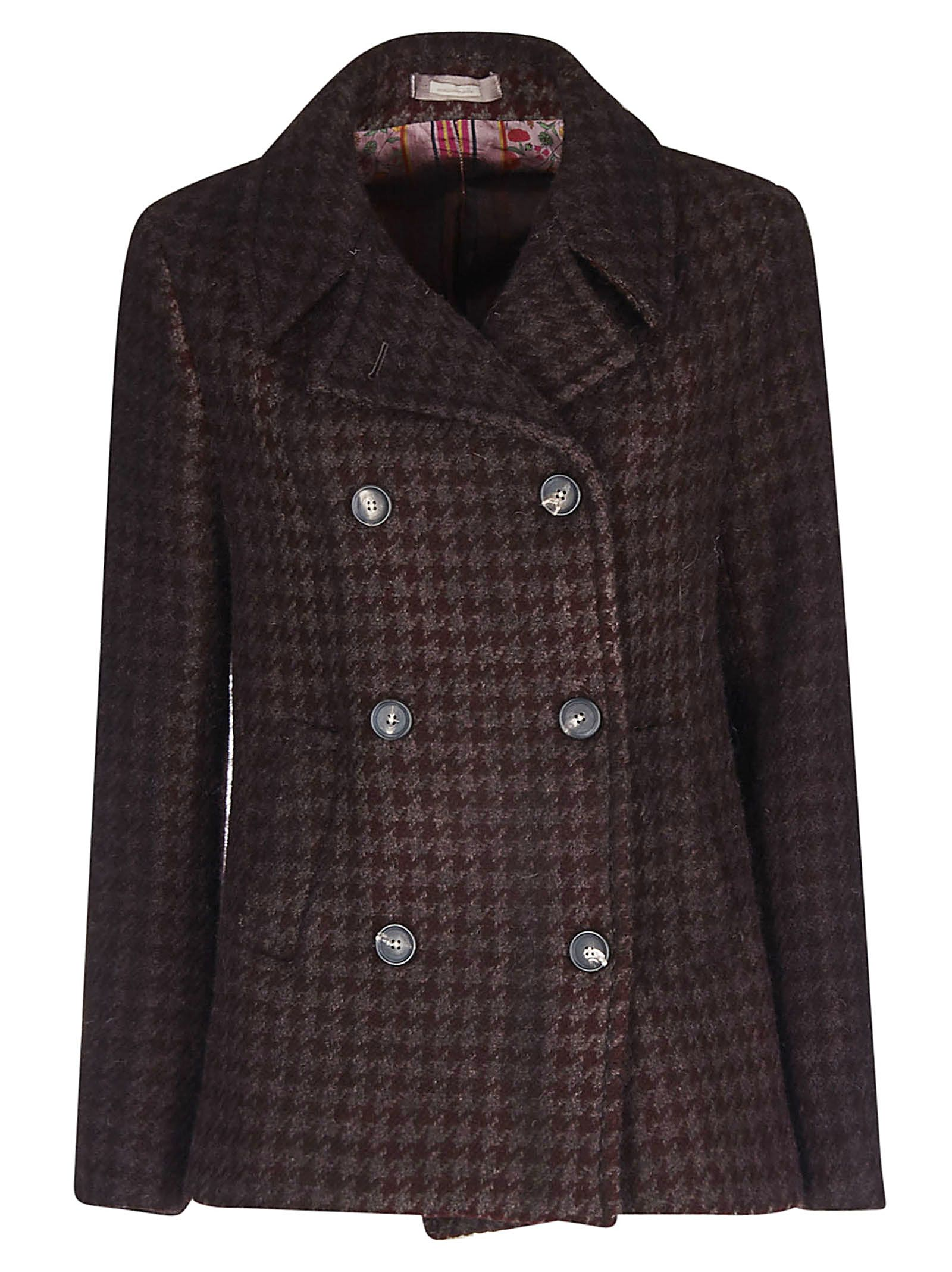 Checked Double Breasted Coat, Plum/Ruby