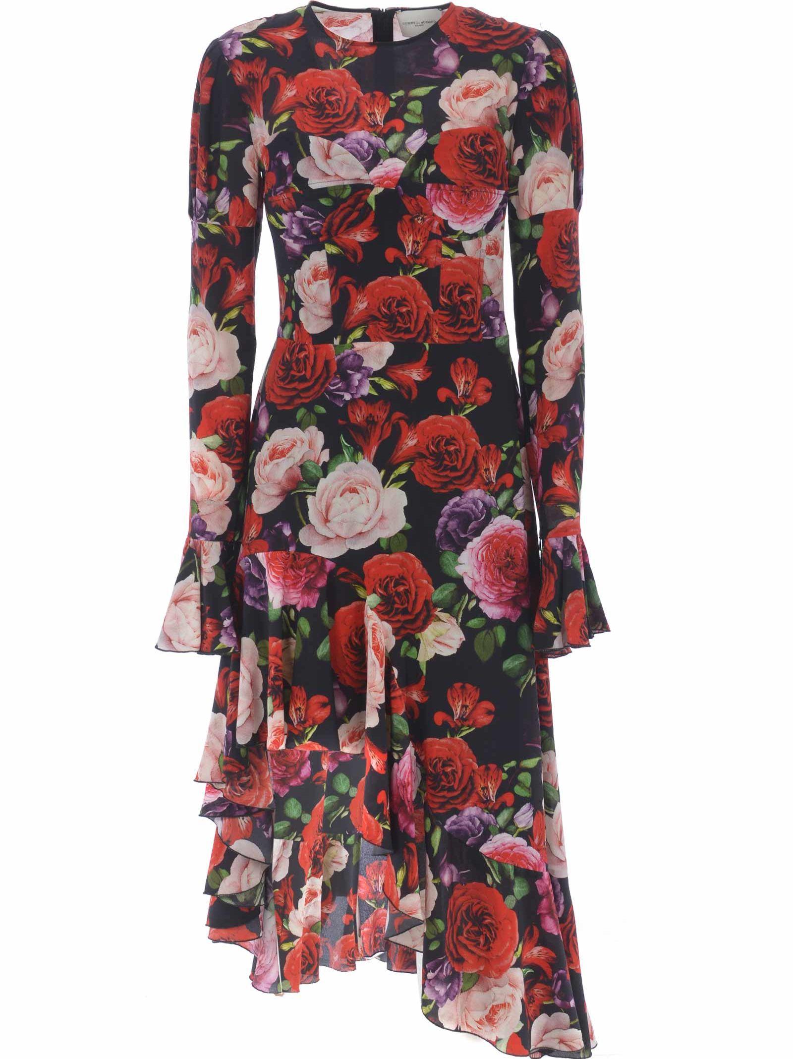 GIUSEPPE DI MORABITO Giuseppe Di Morabito Floral Asymmetric Dress in Nero-Rosso