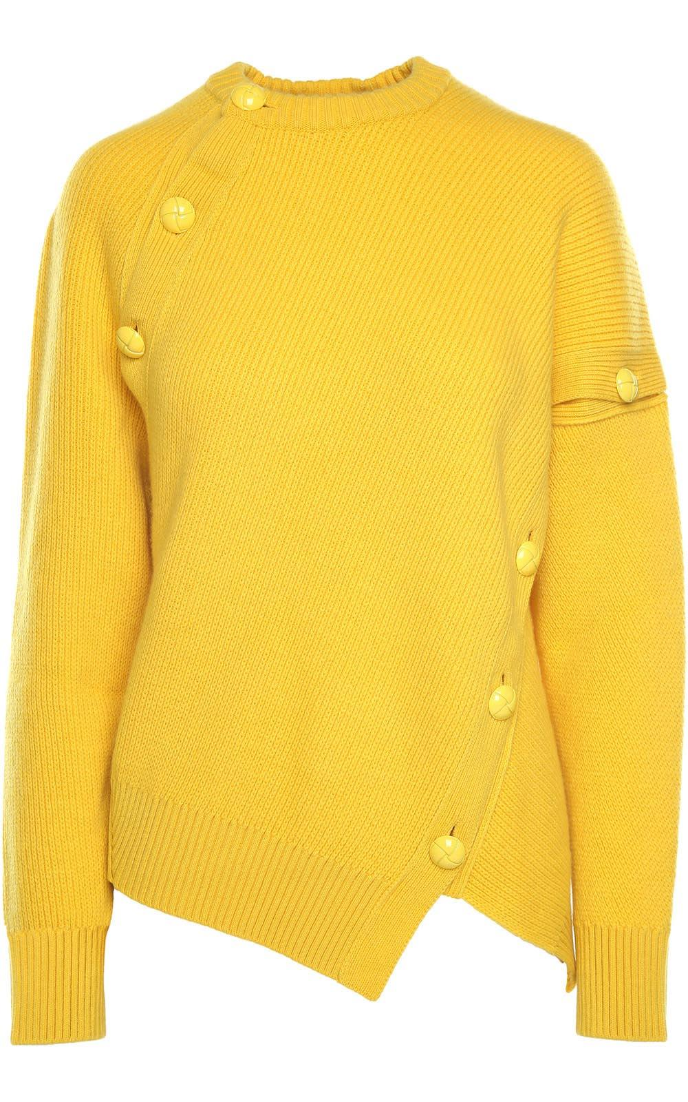 Button-Embellishment Cashmere And Wool-Blend Jumper in Yellow