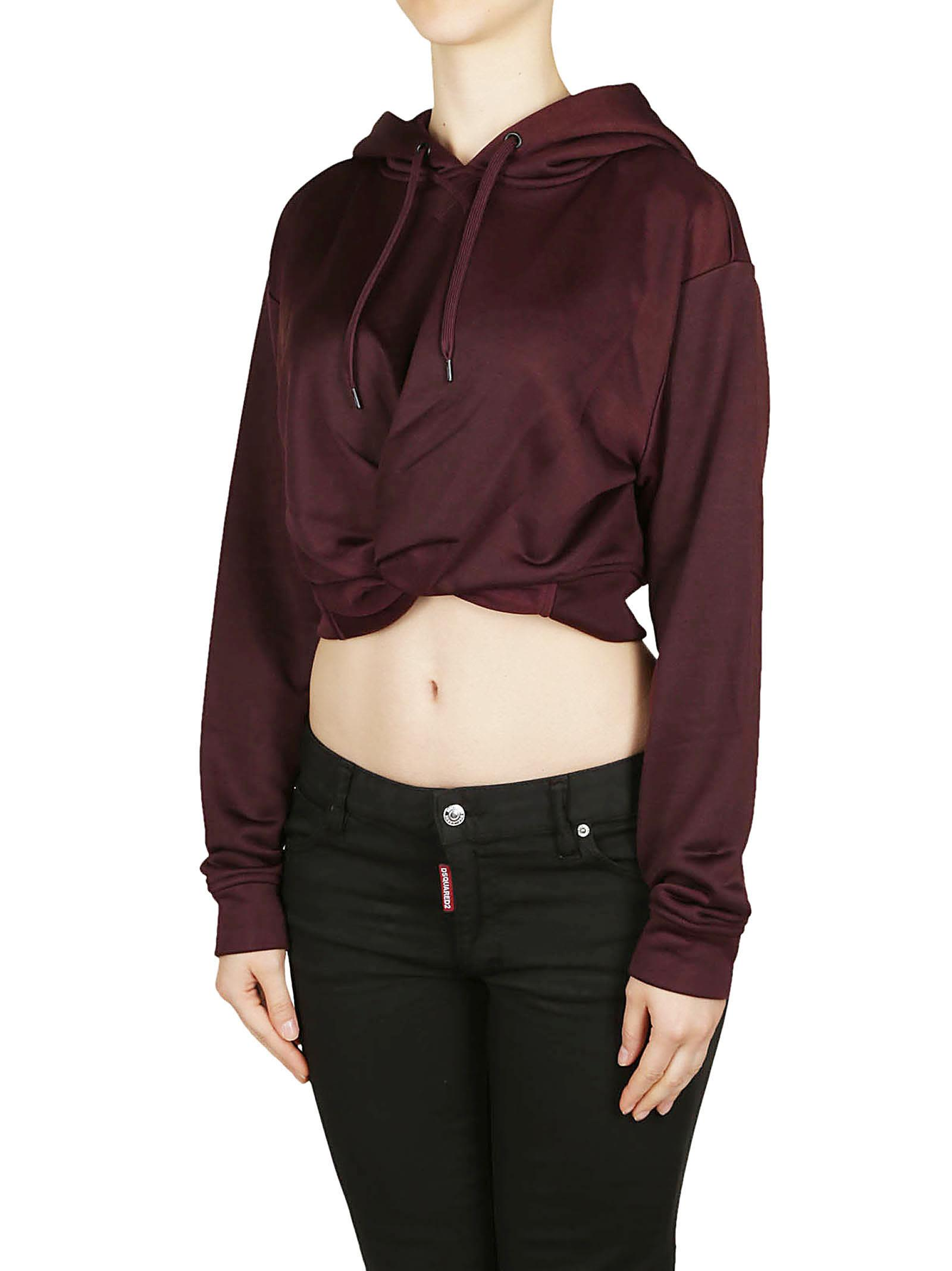 T By Alexander Wang Cropped Twist Front Hoodie