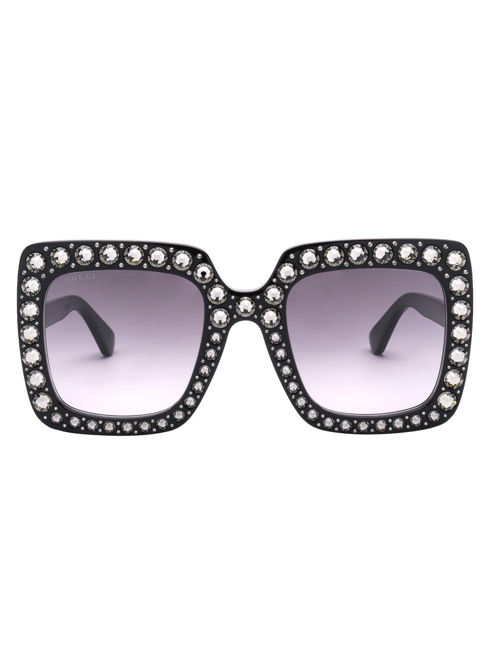 Eyewear Crystals Applique Sunglasses in C001