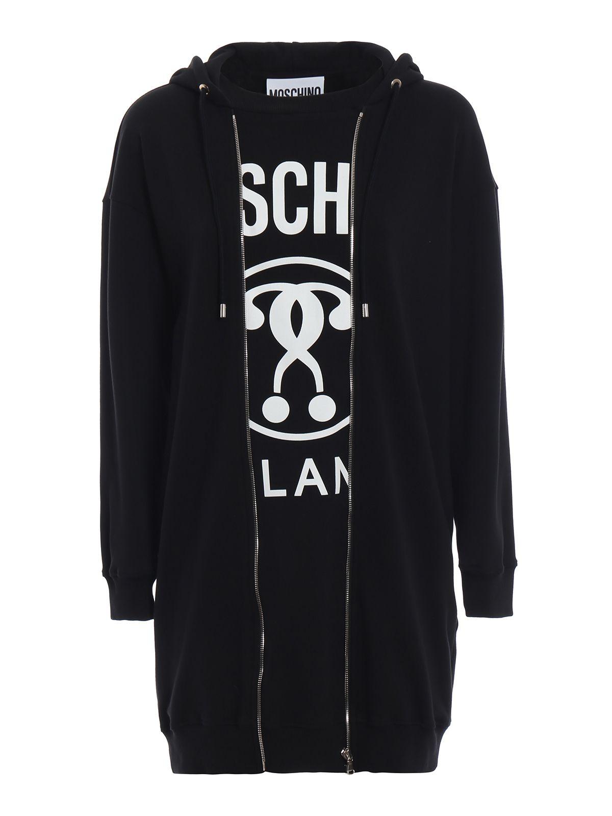 Trompe L'Oeil Sweatshirt Dress in Black