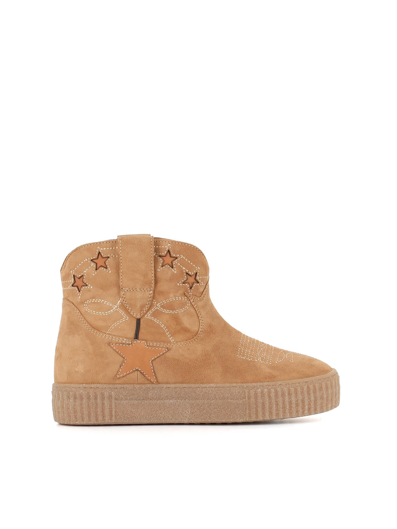 Star Ankle Boots in Beige