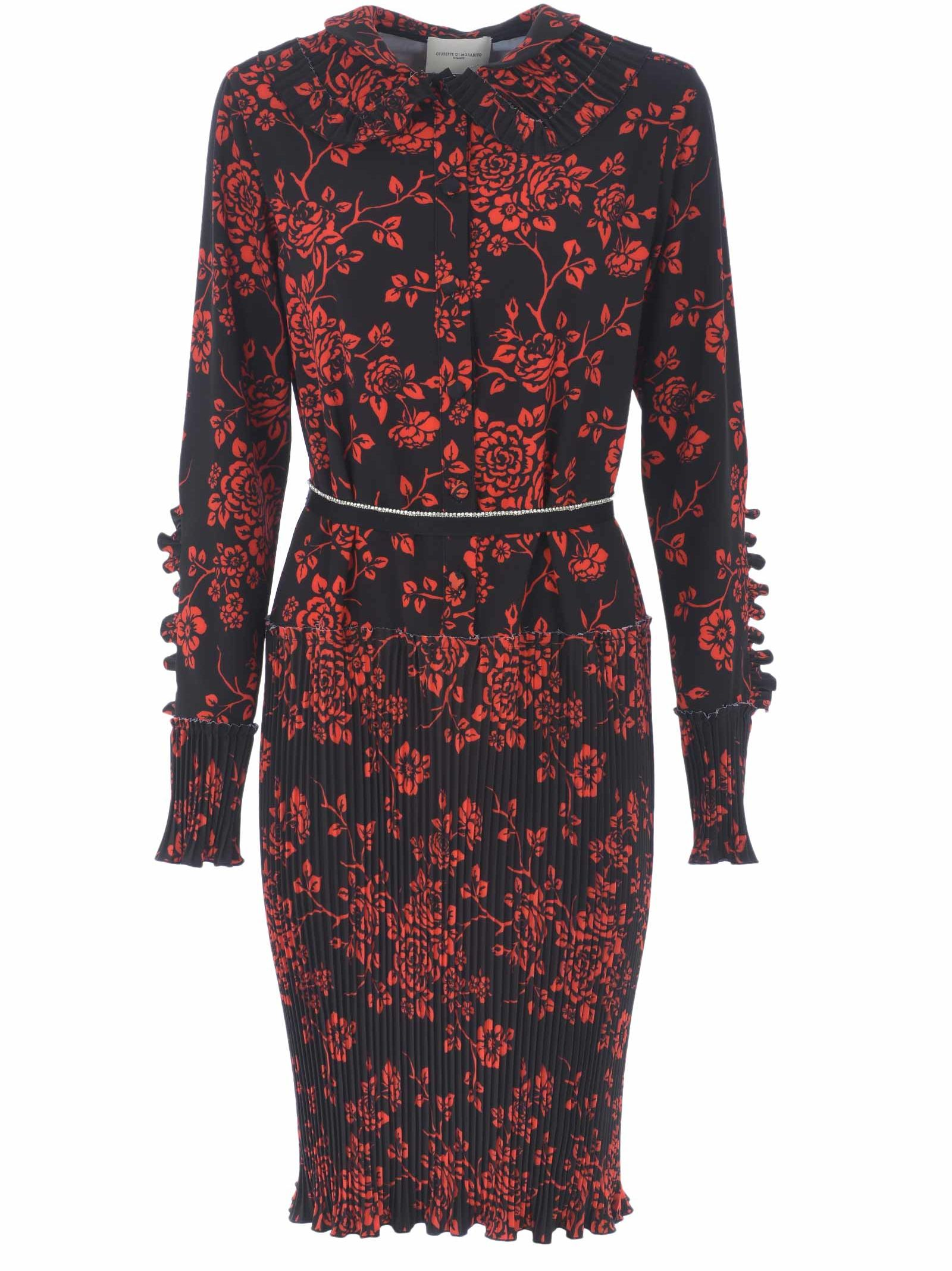 GIUSEPPE DI MORABITO Giuseppe Di Morabito Floral Dress in Nero-Rosso