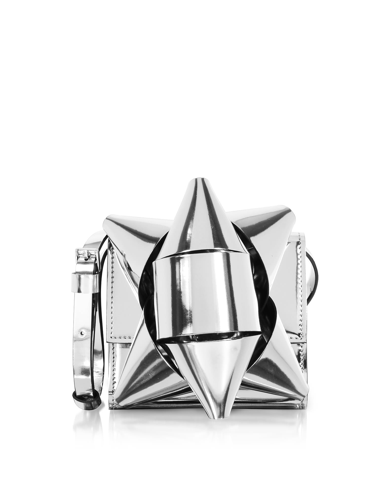 Mm6 Maison Martin Margiela Metallic Eco-Leather Bow Shoulder Bag in Silver