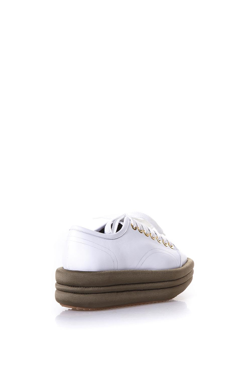 MARC ELLIS Diva White Leather & Military Platform Sneakers For Sale Top Quality Sexy Sport Collections 8jFt5