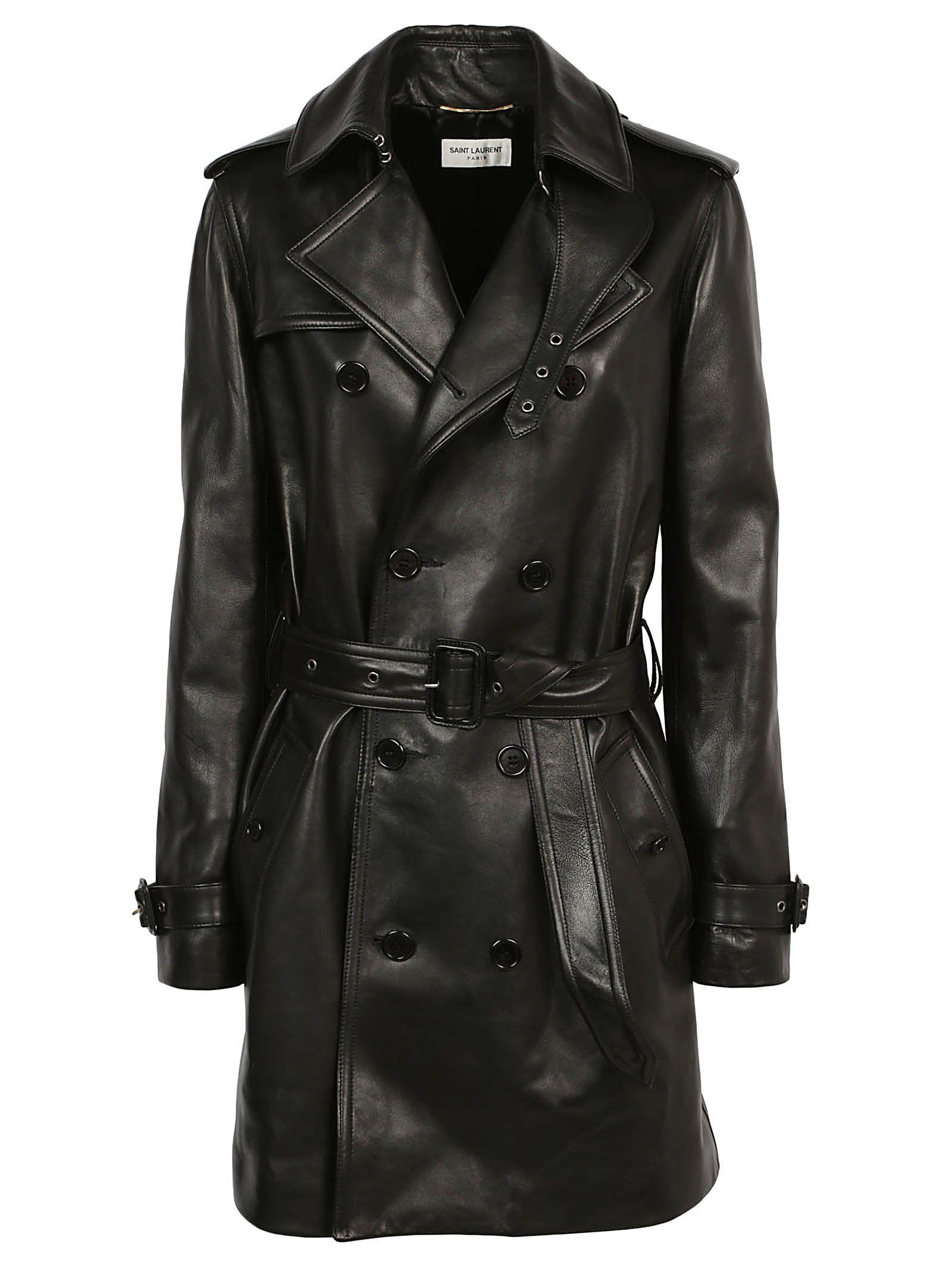 saint laurent -  Leather Trench Coat