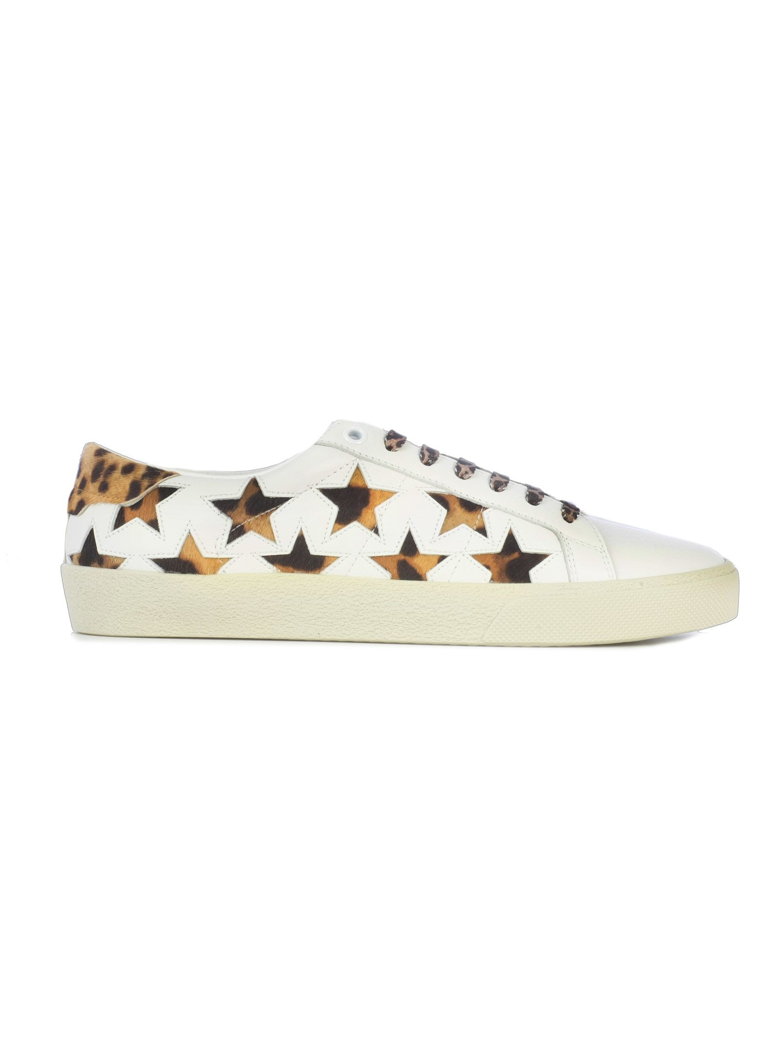 SL/06 Cheetah Star Court Classic Sneaker in White