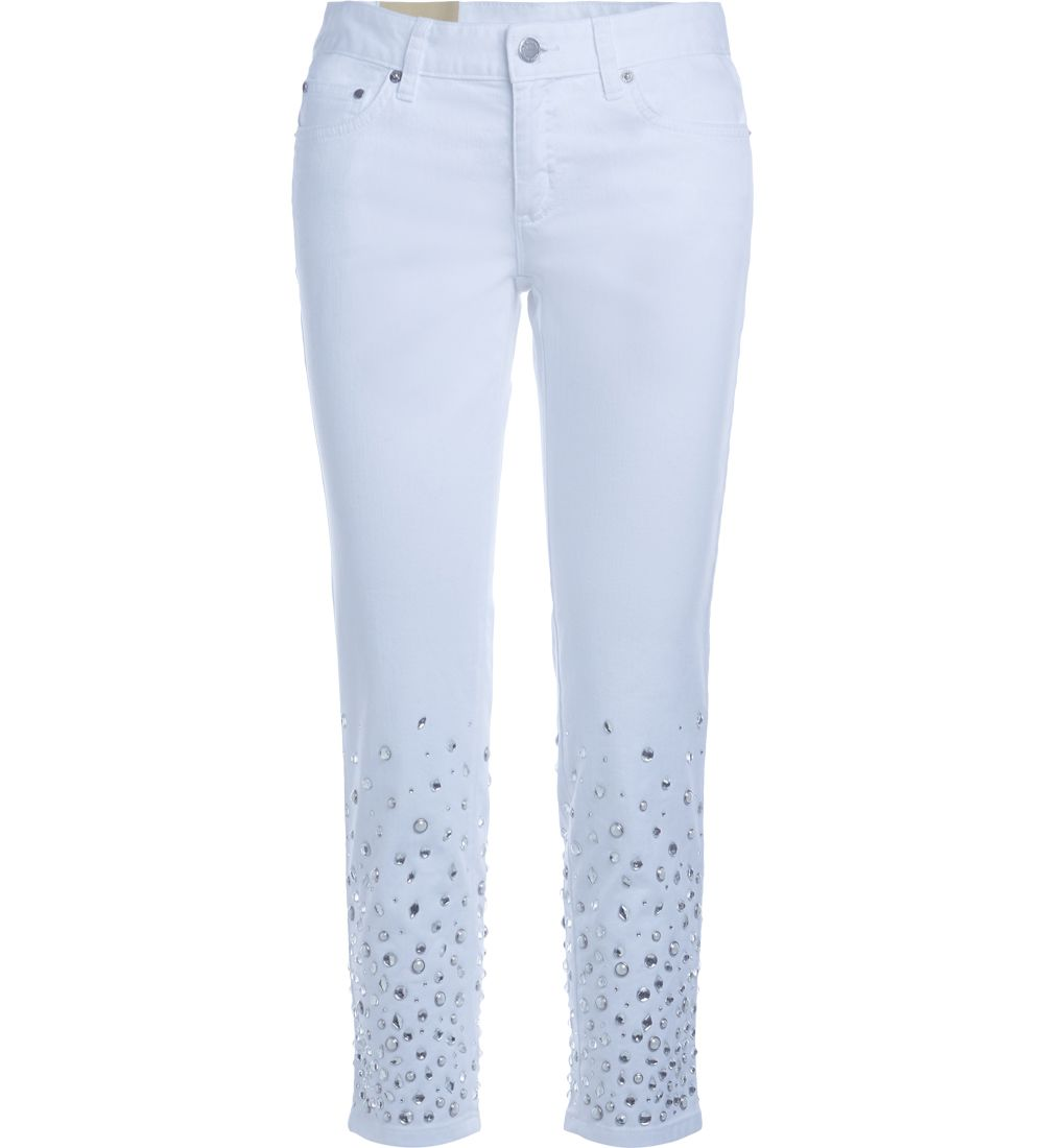 Michael Kors Izzy White And Crystal Skinny Jeans 10571956