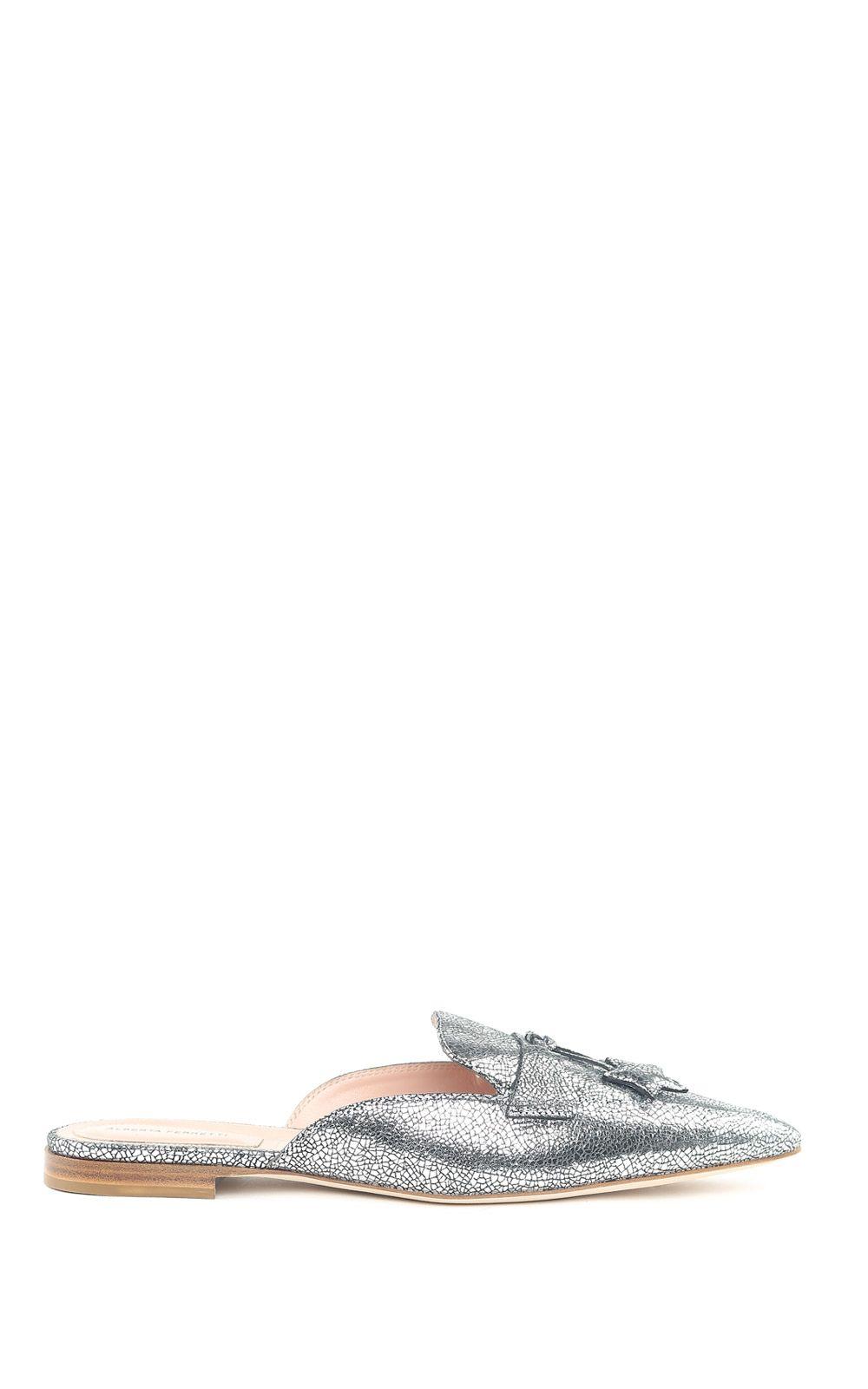 Mia metallic-leather backless loafers Alberta Ferretti zhASM