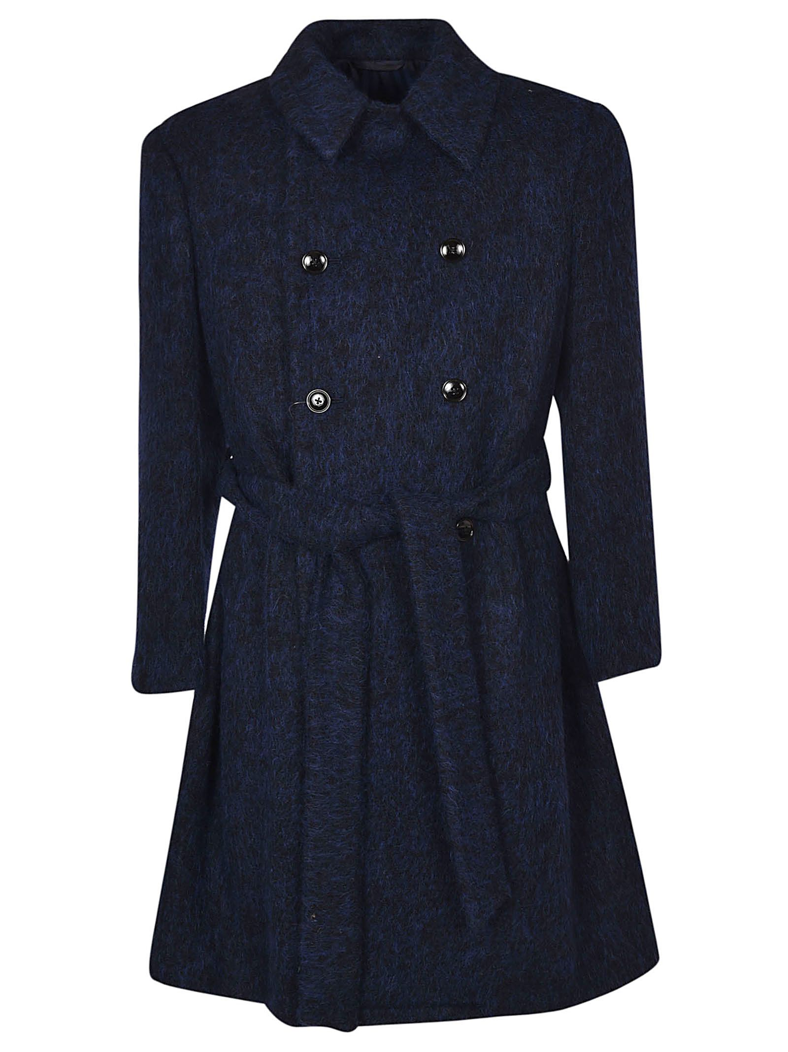 MASSIMO PIOMBO Belted Double Breasted Coat in 08U