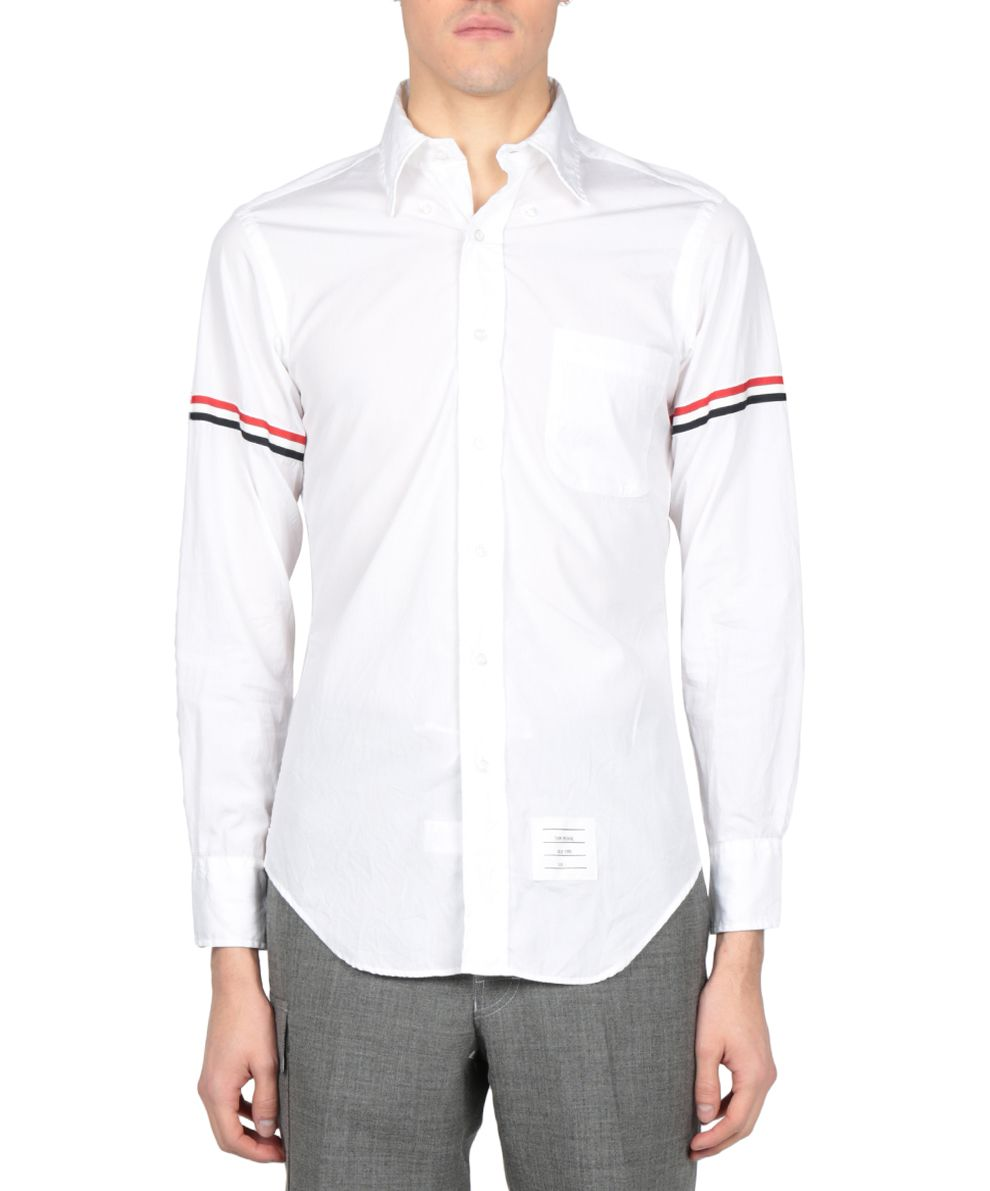 THOM BROWNE OXFORD COTTON ARMBANDS SHIRT