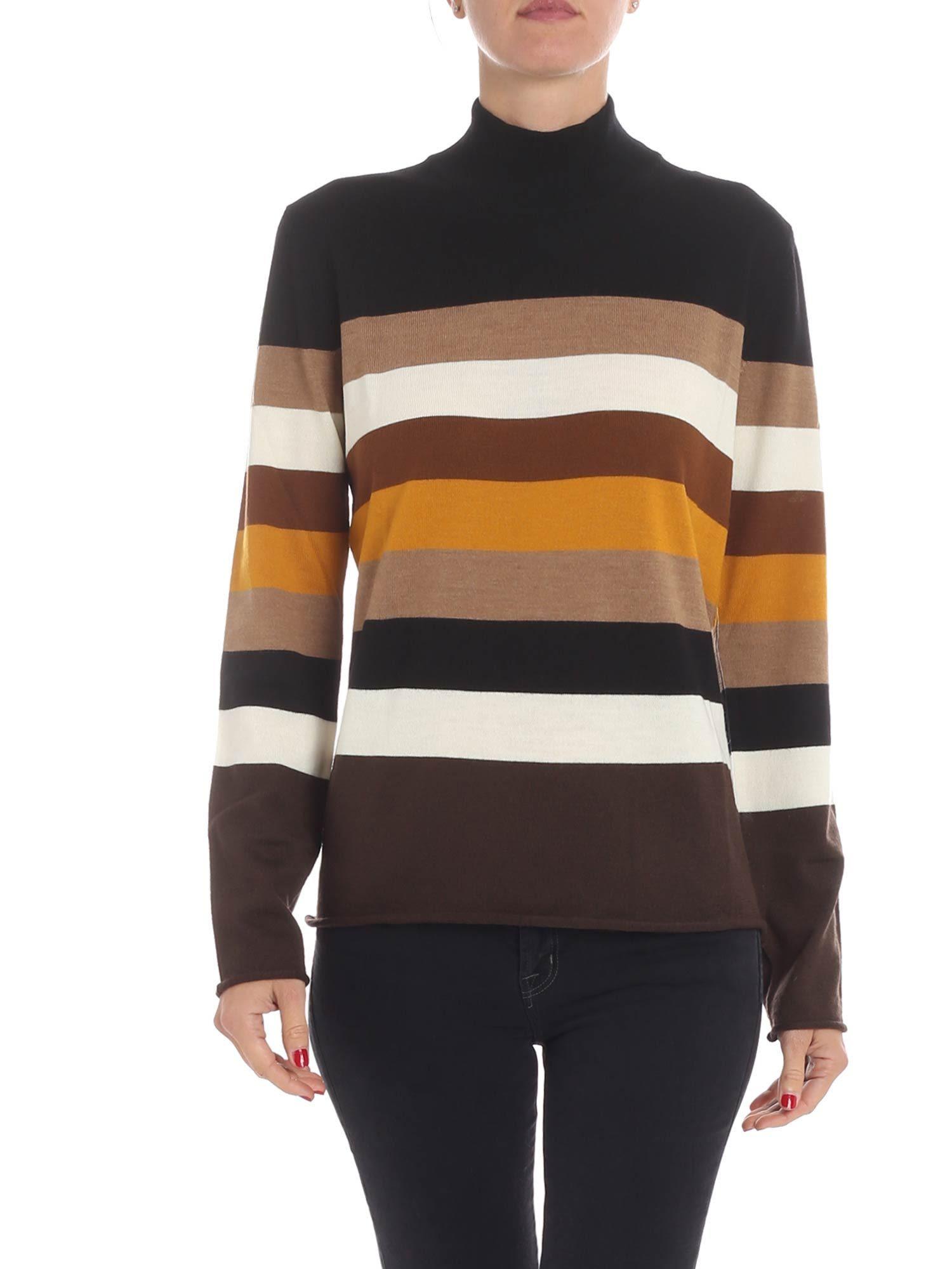 ALTEA Stripe Knit Pullover in Black