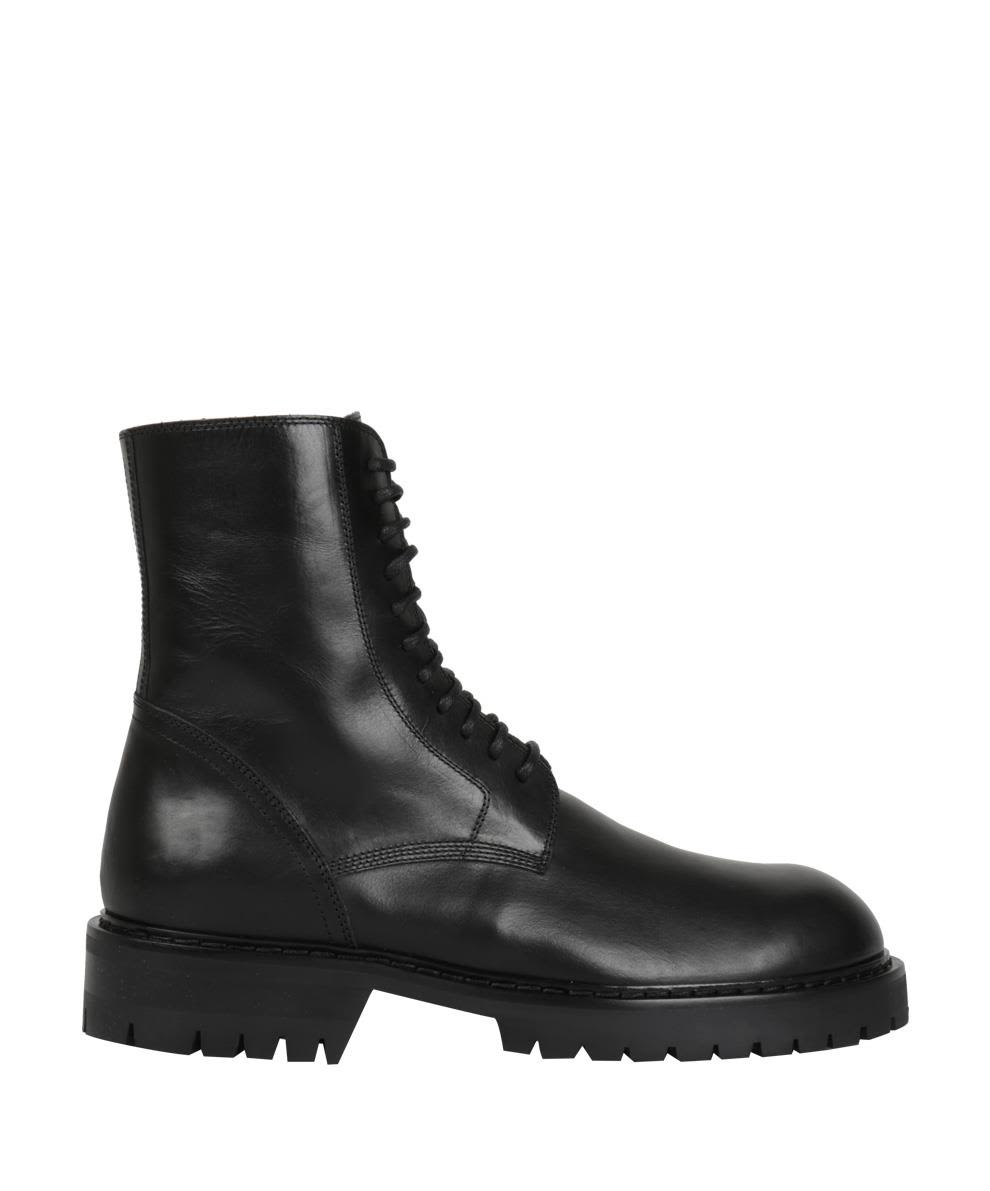 Black Leather Army Boots, Nero