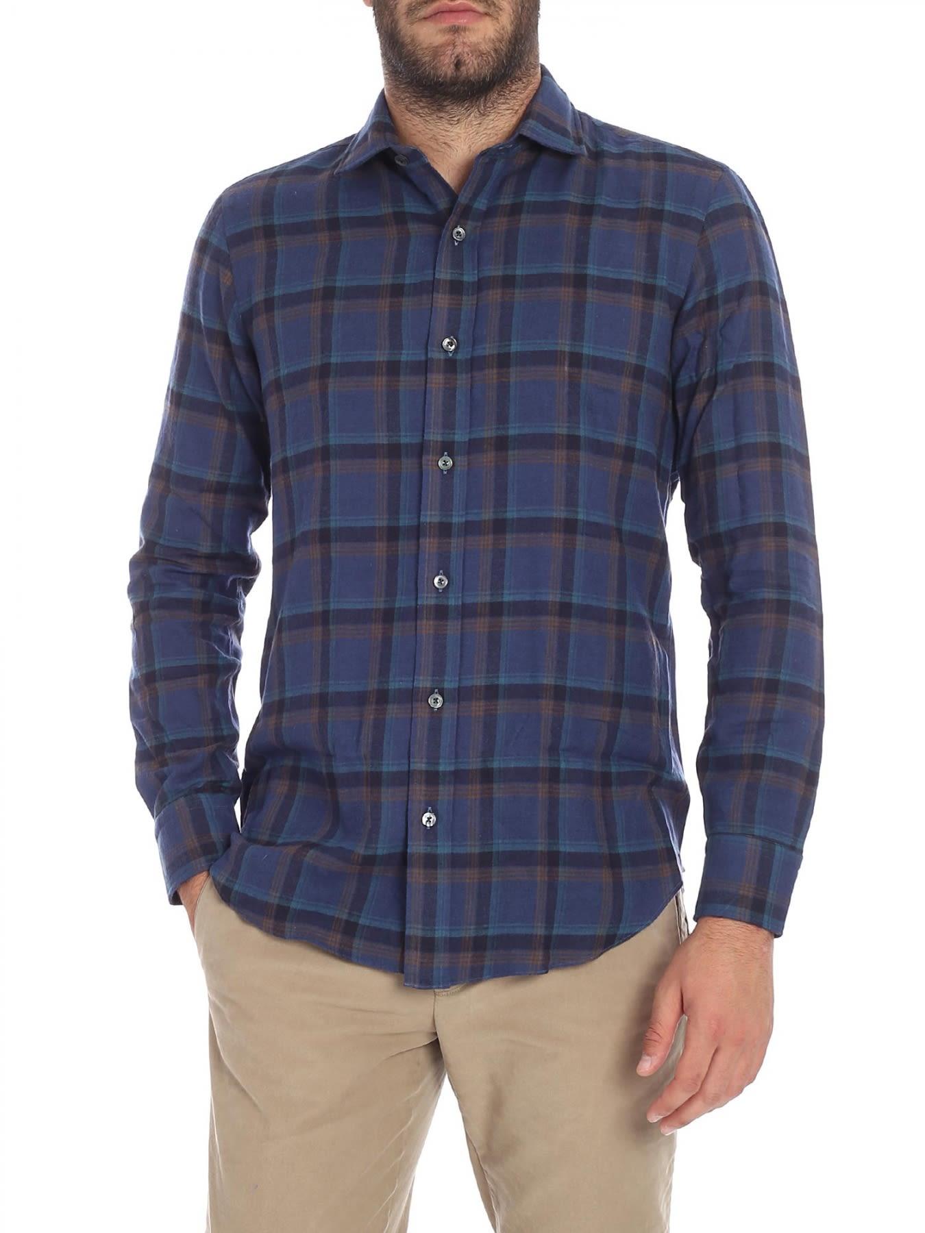 SALVATORE PICCOLO Shirt Flannel in Blue