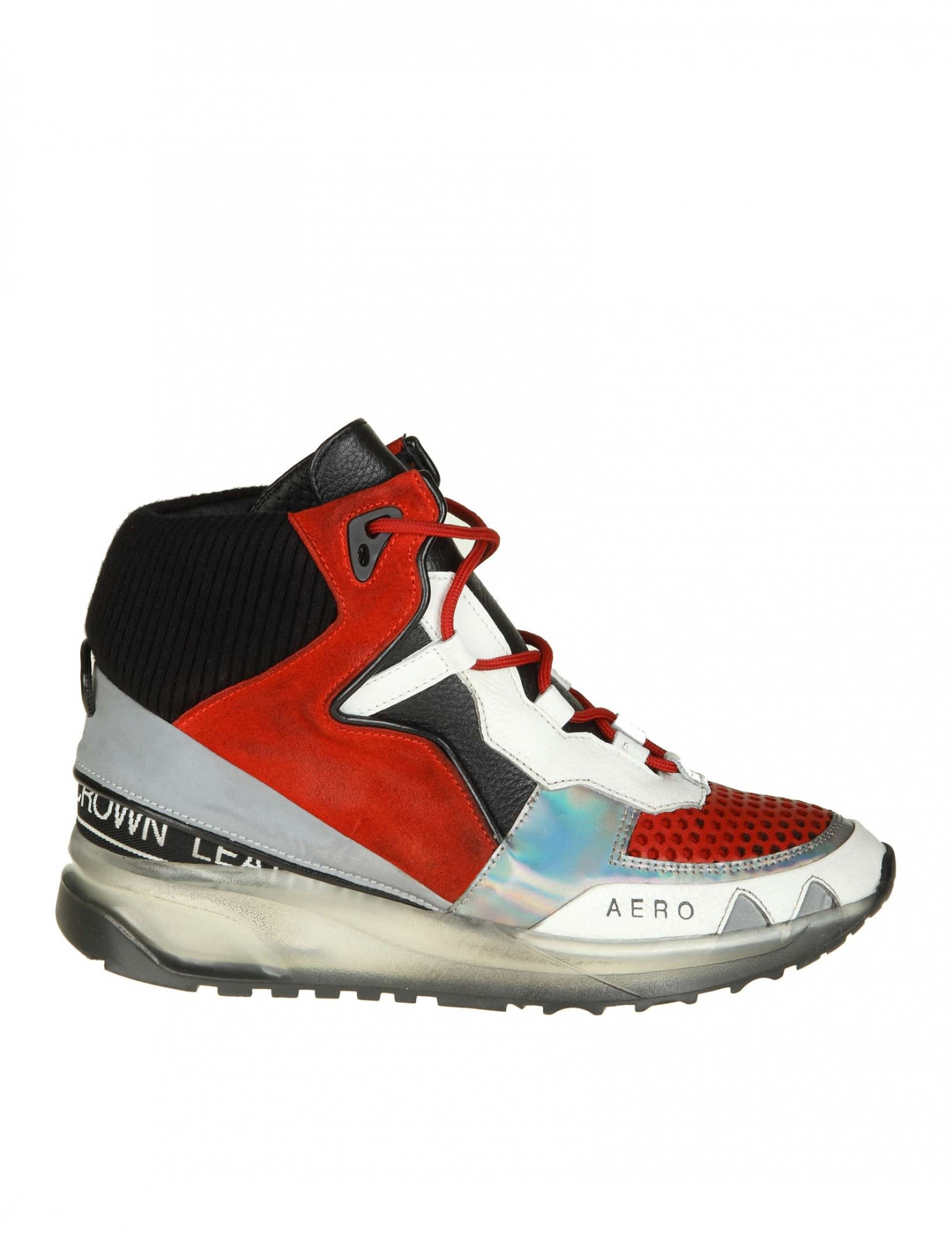 """Leather Crown """"aero"""" Sneakers In Red Leather With Black And White Deta"""