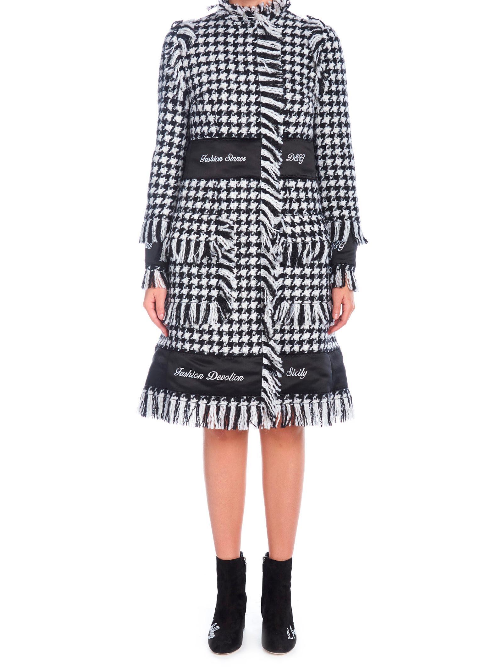 Two Color Mixed Wool Pied De Poule Coat in Black & White