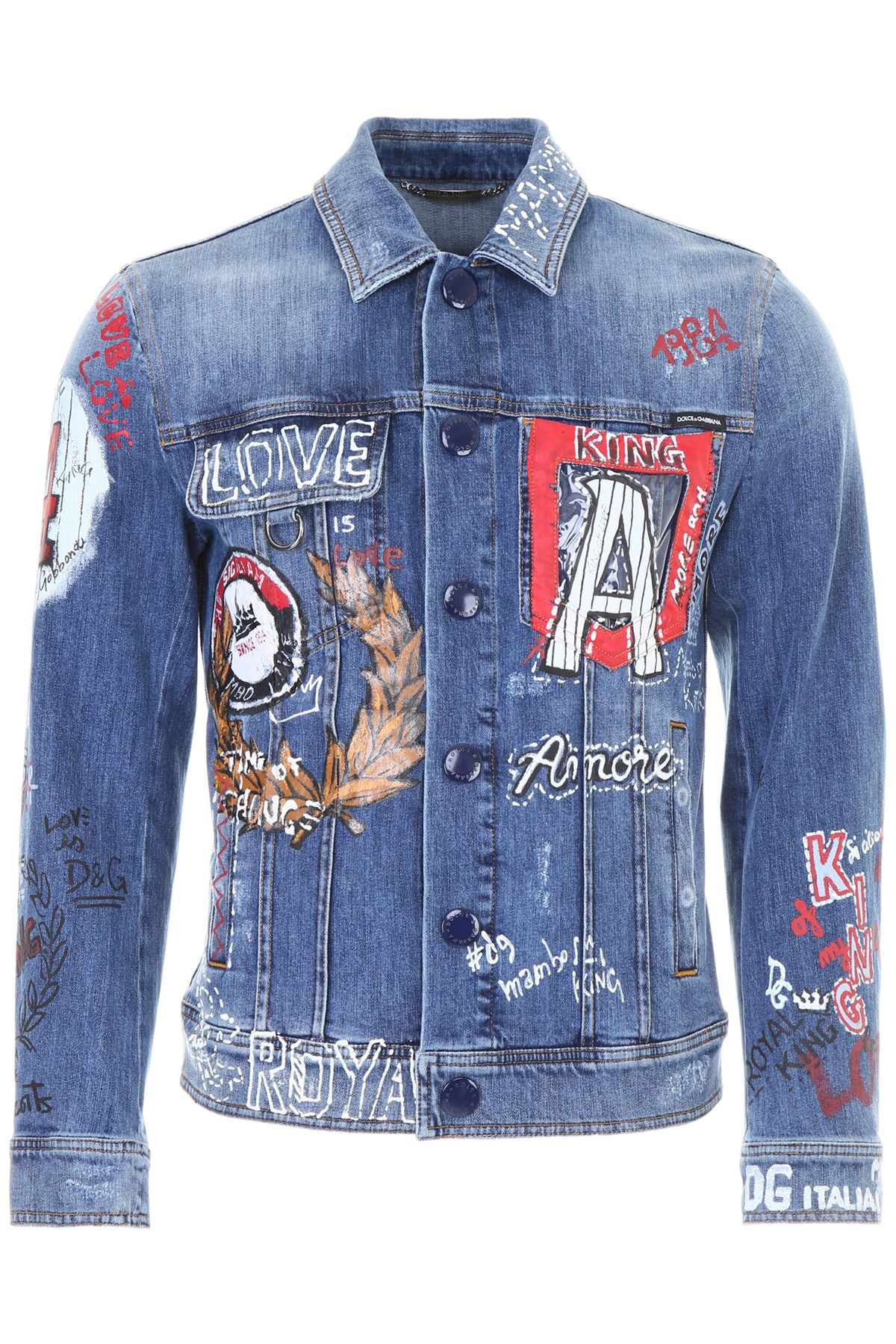 DOLCE & GABBANA Dolce And Gabbana Blue Denim Drawing Jacket
