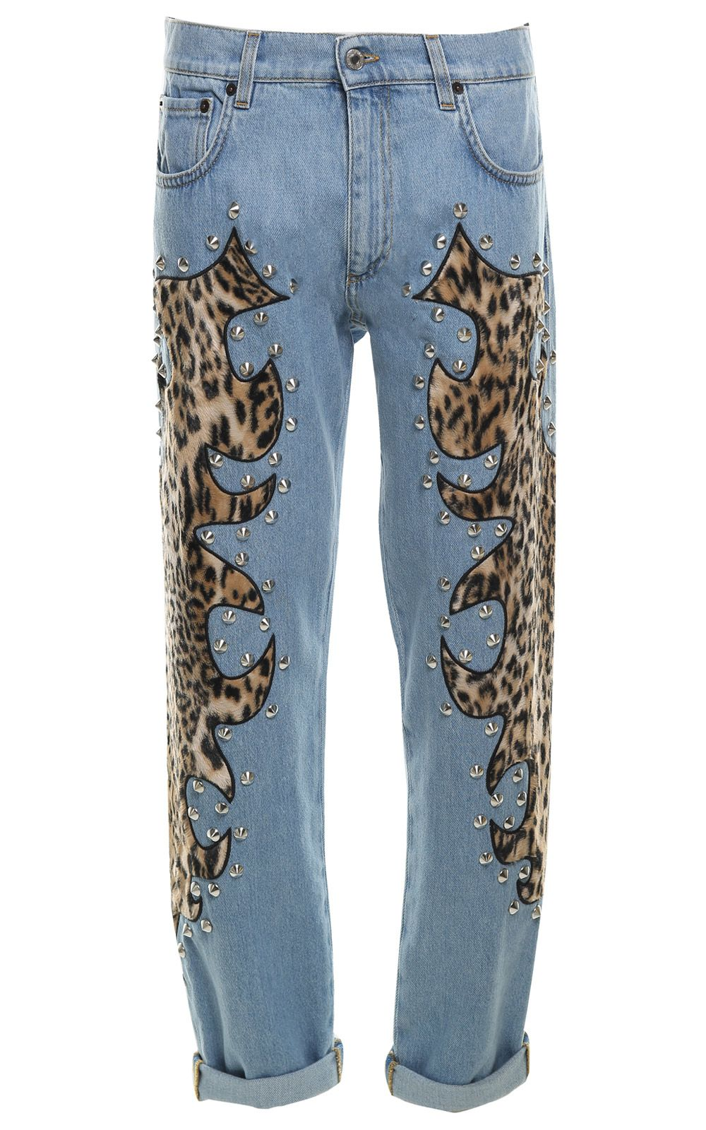 Moschino Studded Embroidered Cotton-denim Jeans 10340218