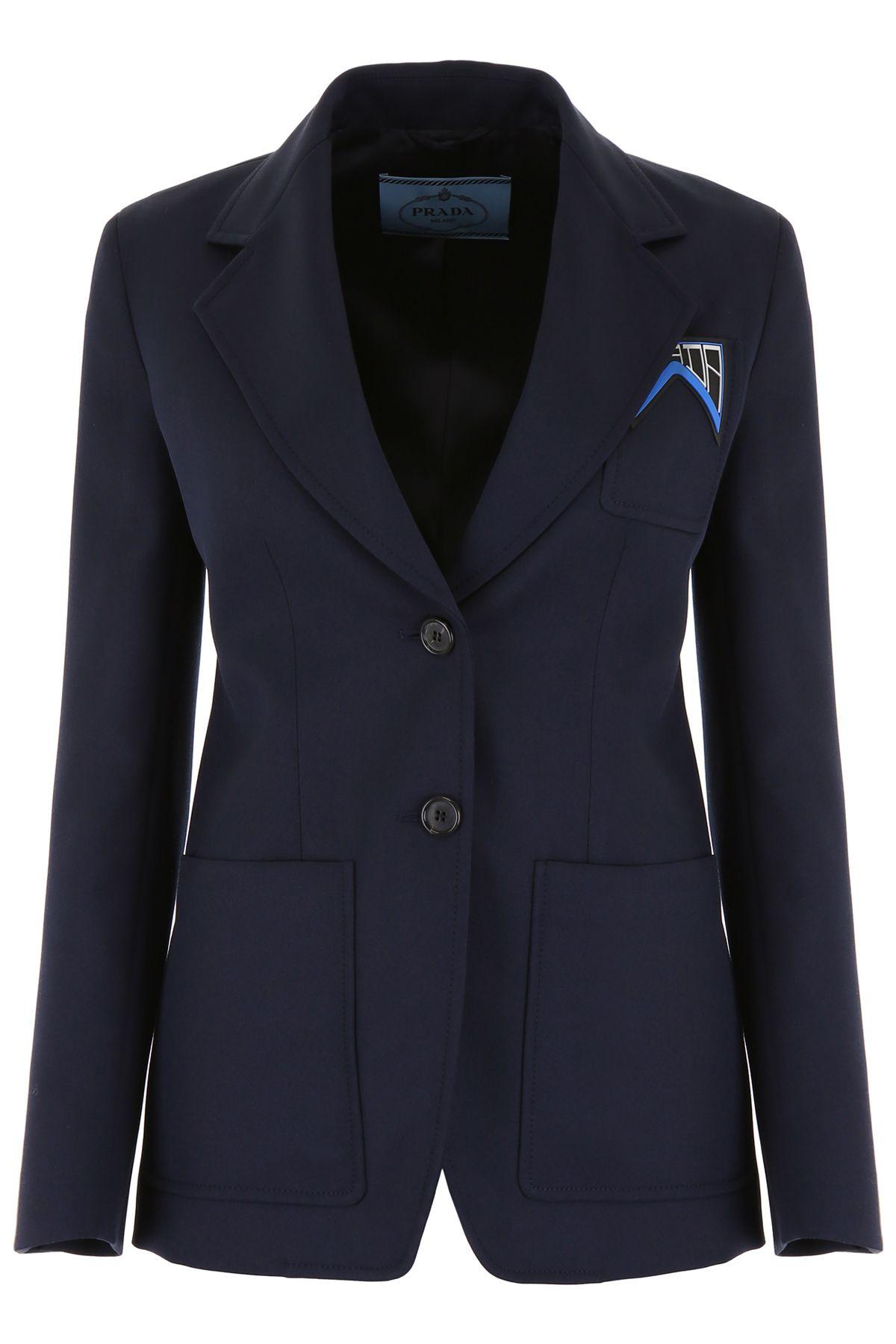 Bleu Prada Blazer In Gabardine Logo With rXxUrO