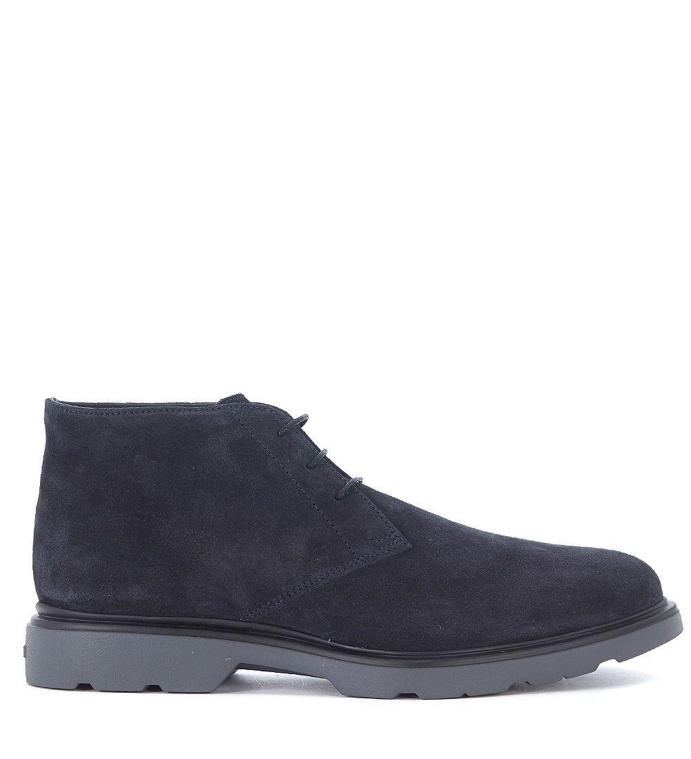 Hogan H304 Blue Suede Ankle Shoes