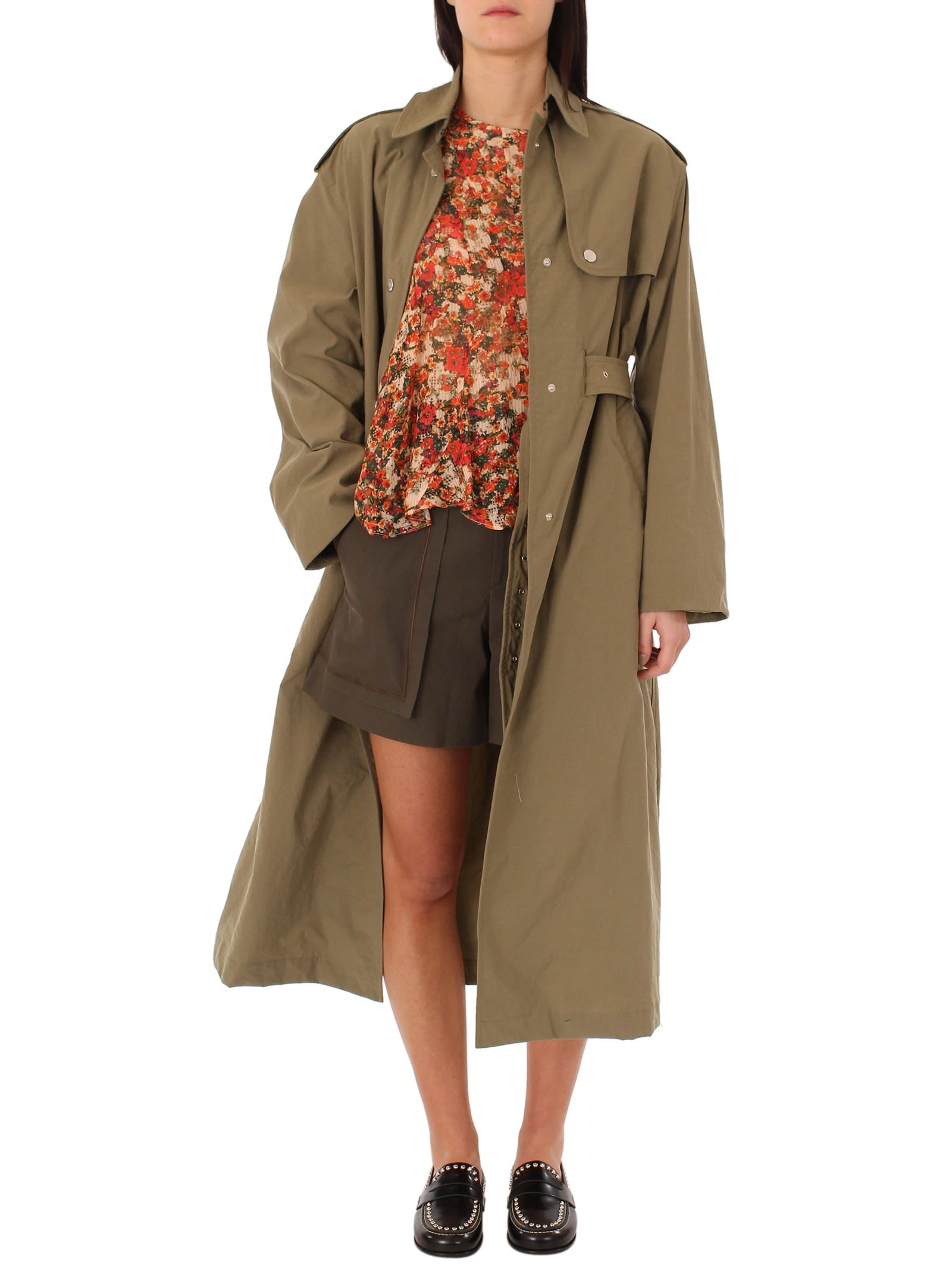 Isabel Marant - Isabel Marant Lawney Khaki Trench Coat - Green, Women's Coats & Jackets | Italist