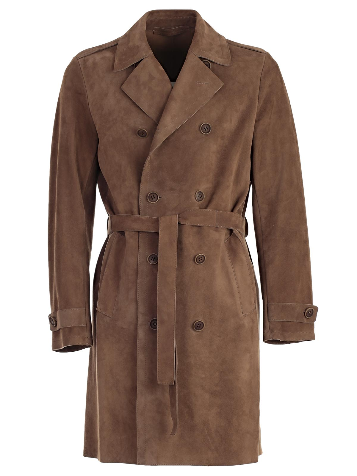 SALVATORE SANTORO Double Breasted Trench in Brown