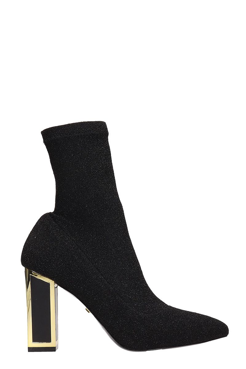 Kat Maconie ALEXIS BLACK GLITTER FABRIC ANKLE BOOTS