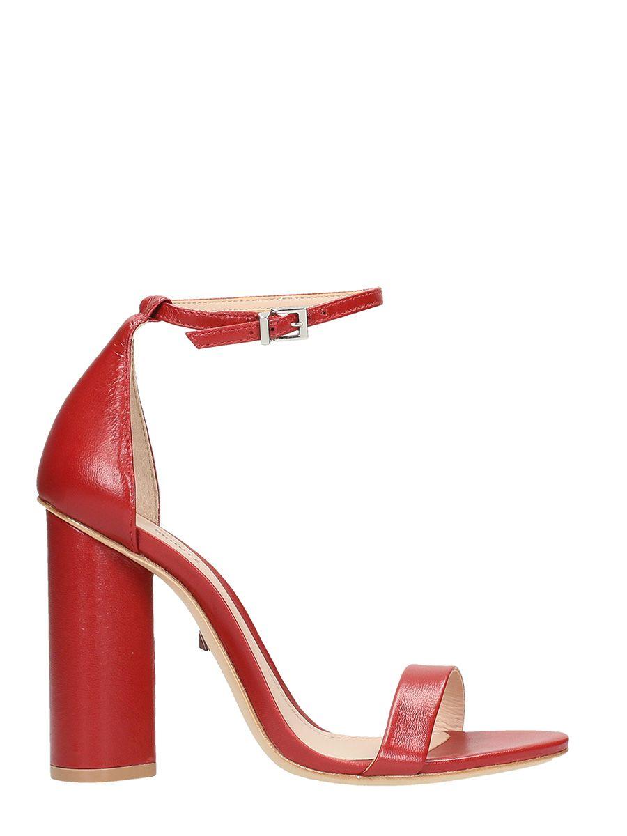 Schutz Red Calf Leather Sandals 10601101
