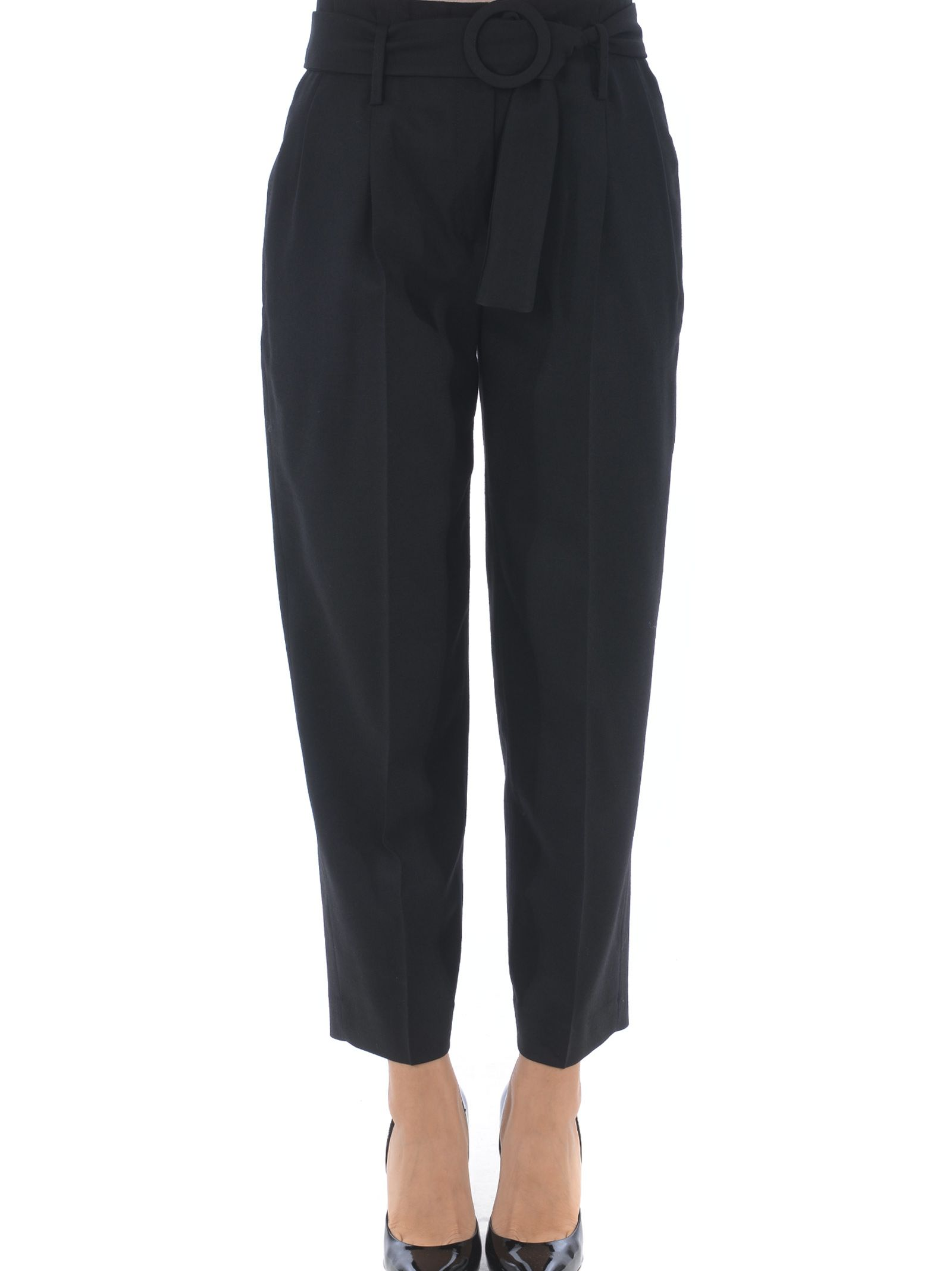 TRUE ROYAL Belted Cropped Trousers in Nero